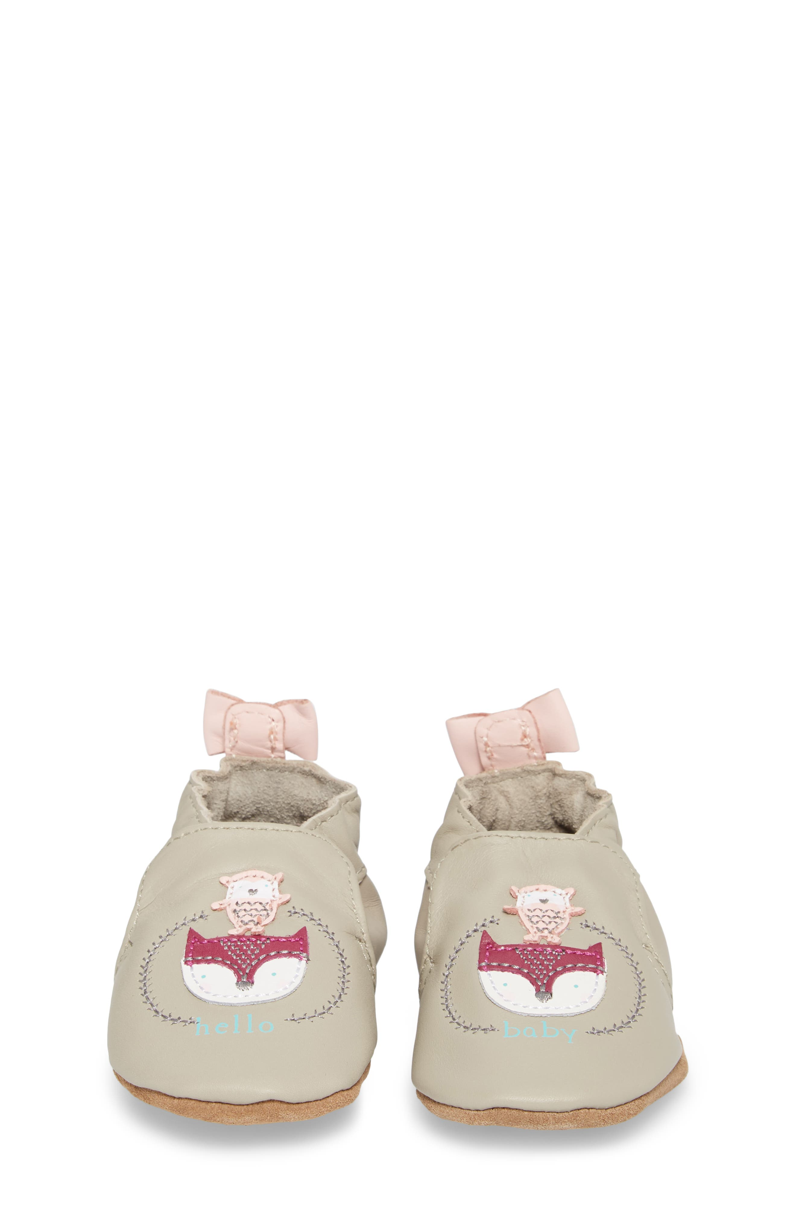 Hello Baby Friends Moccasin Crib Shoe,                             Alternate thumbnail 4, color,                             Light Grey