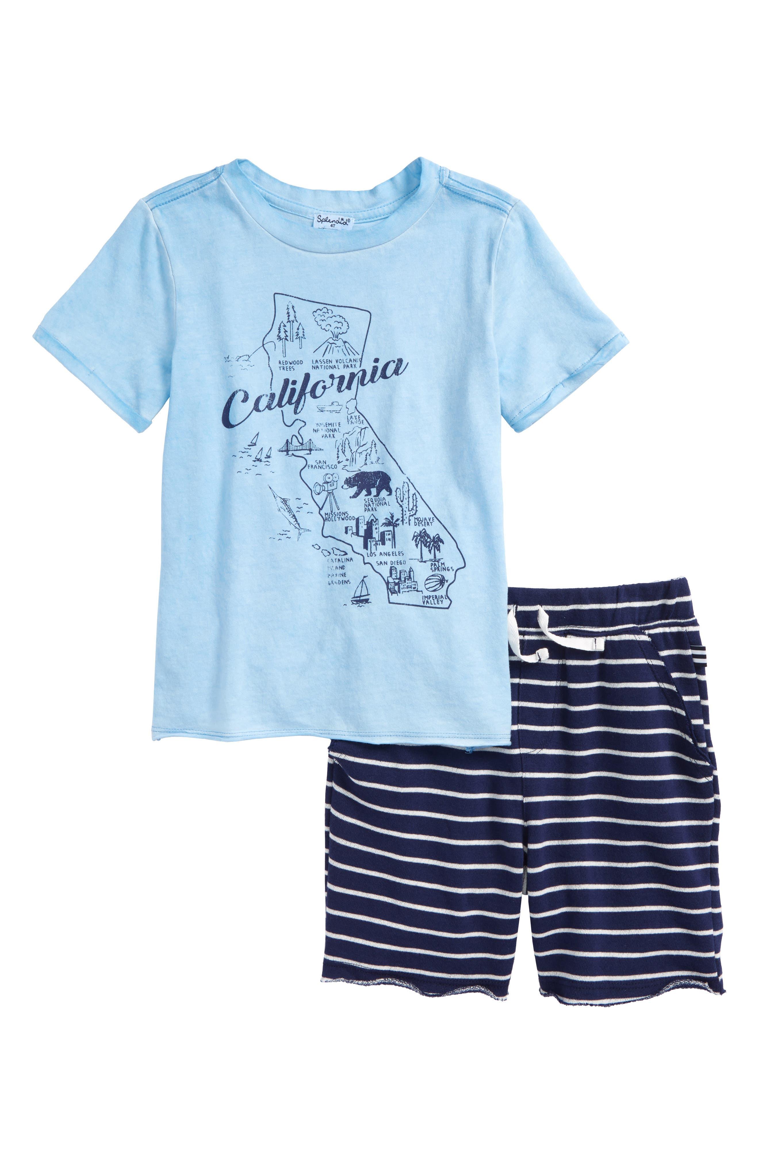 California Map T-Shirt & Shorts Set,                             Main thumbnail 1, color,                             Sky Blue