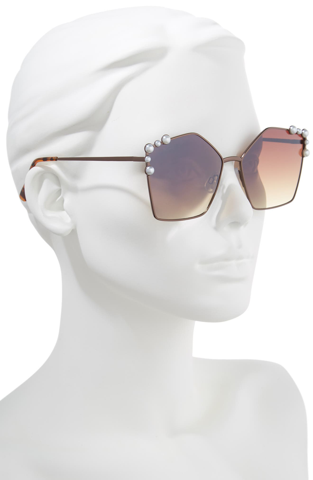 Alternate Image 2  - BP. 60mm Imitation Pearl Geometric Sunglasses