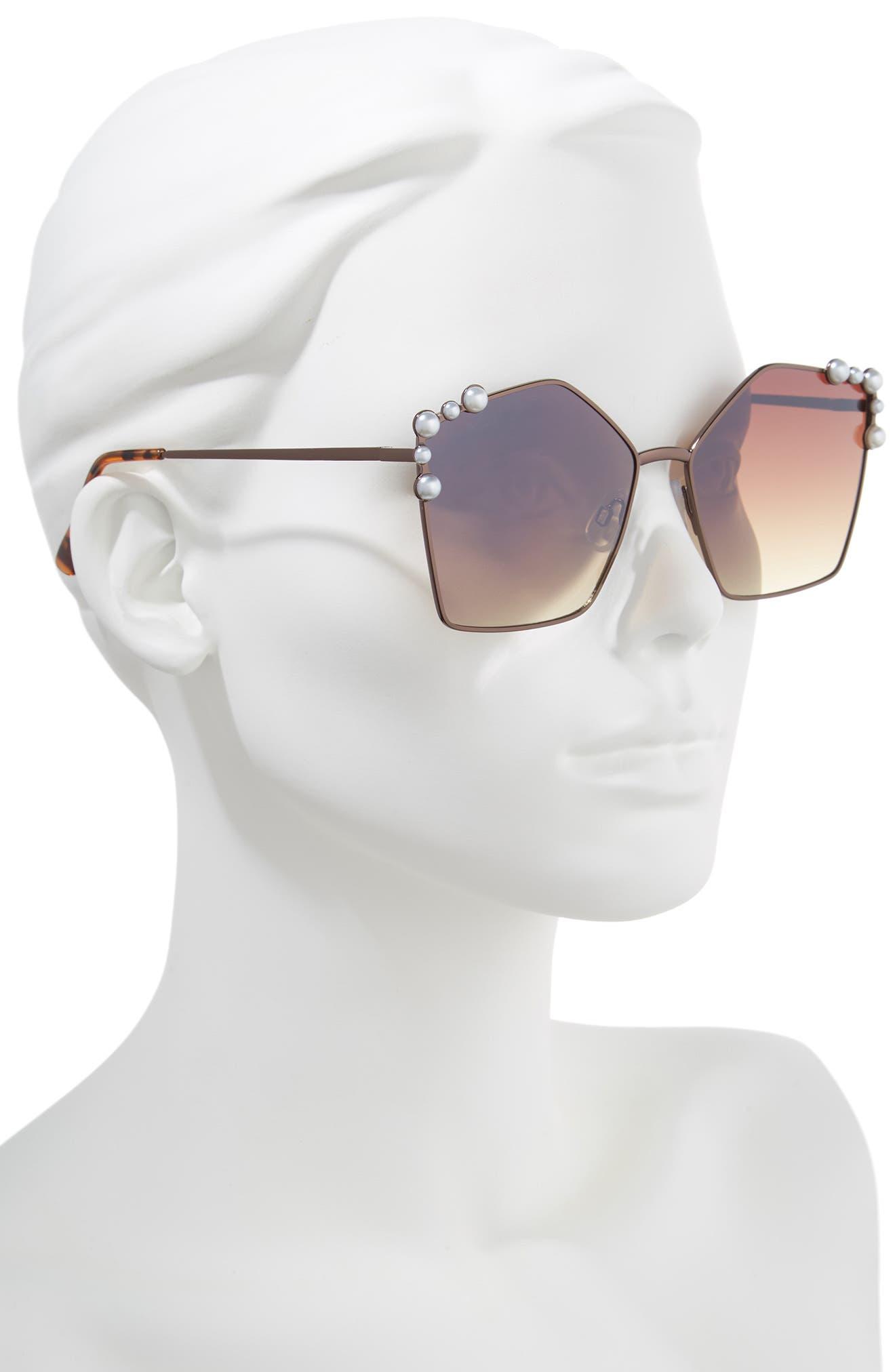 60mm Imitation Pearl Geometric Sunglasses,                             Alternate thumbnail 2, color,                             Brown/ Brown
