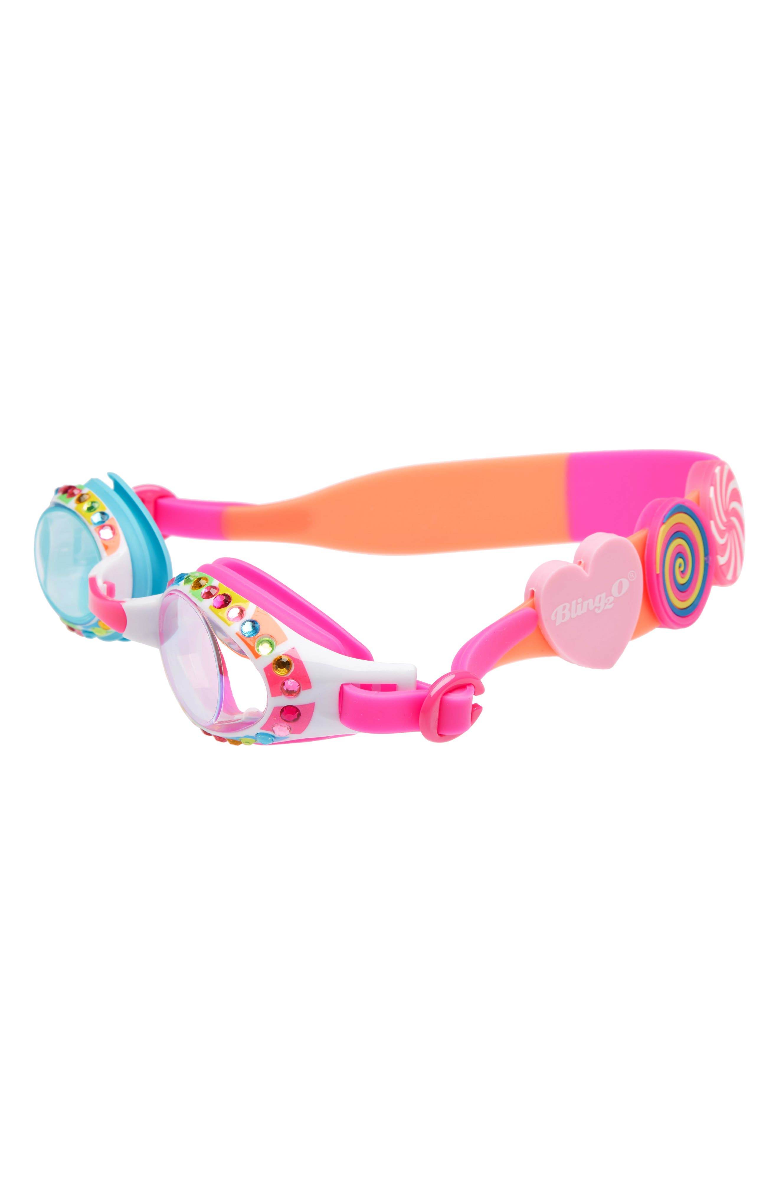 Lolli Poppins Swim Goggles,                         Main,                         color, Pink/ Orange
