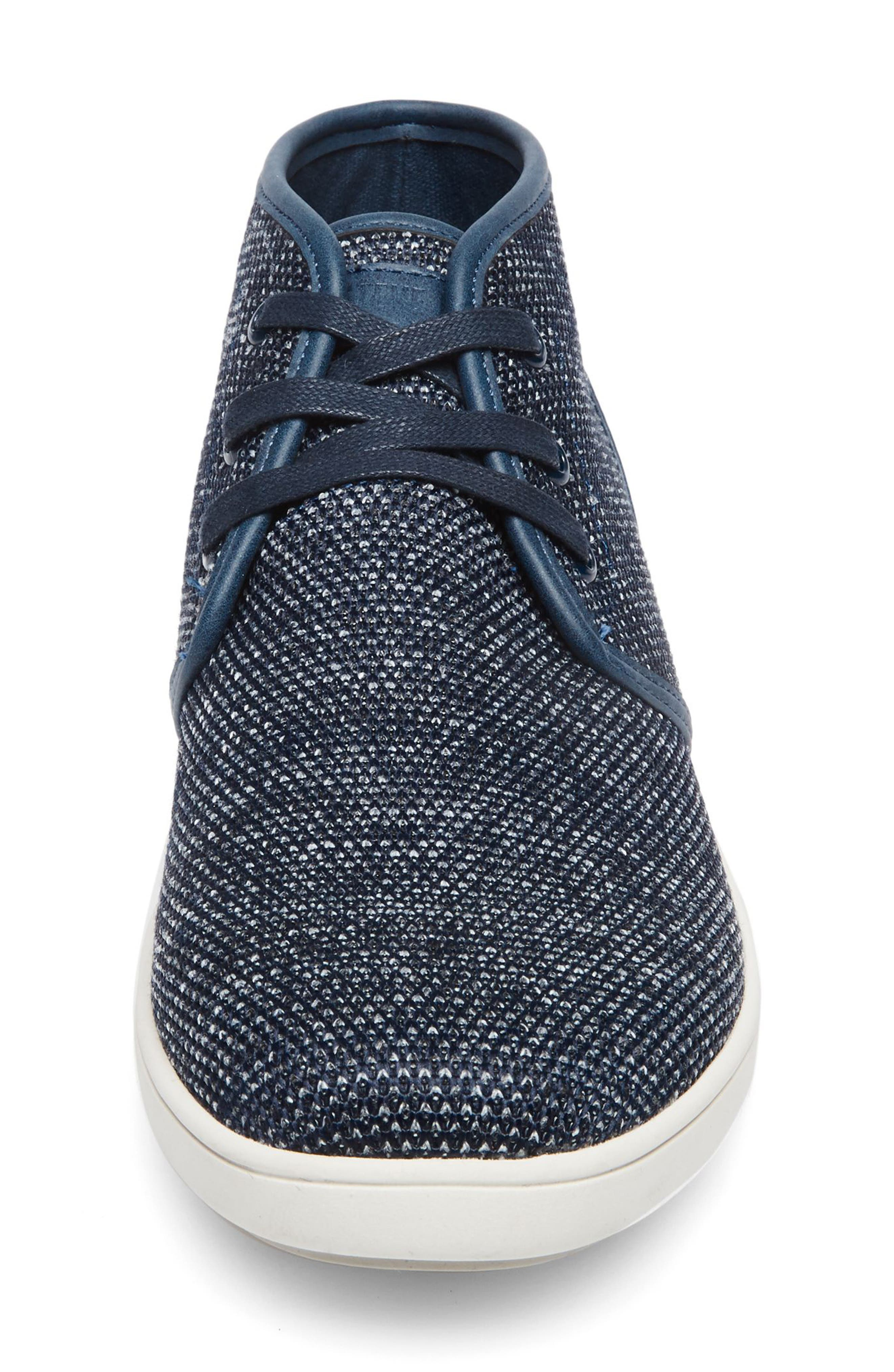 Fowler Knit Mid Top Sneaker,                             Alternate thumbnail 4, color,                             Navy Leather