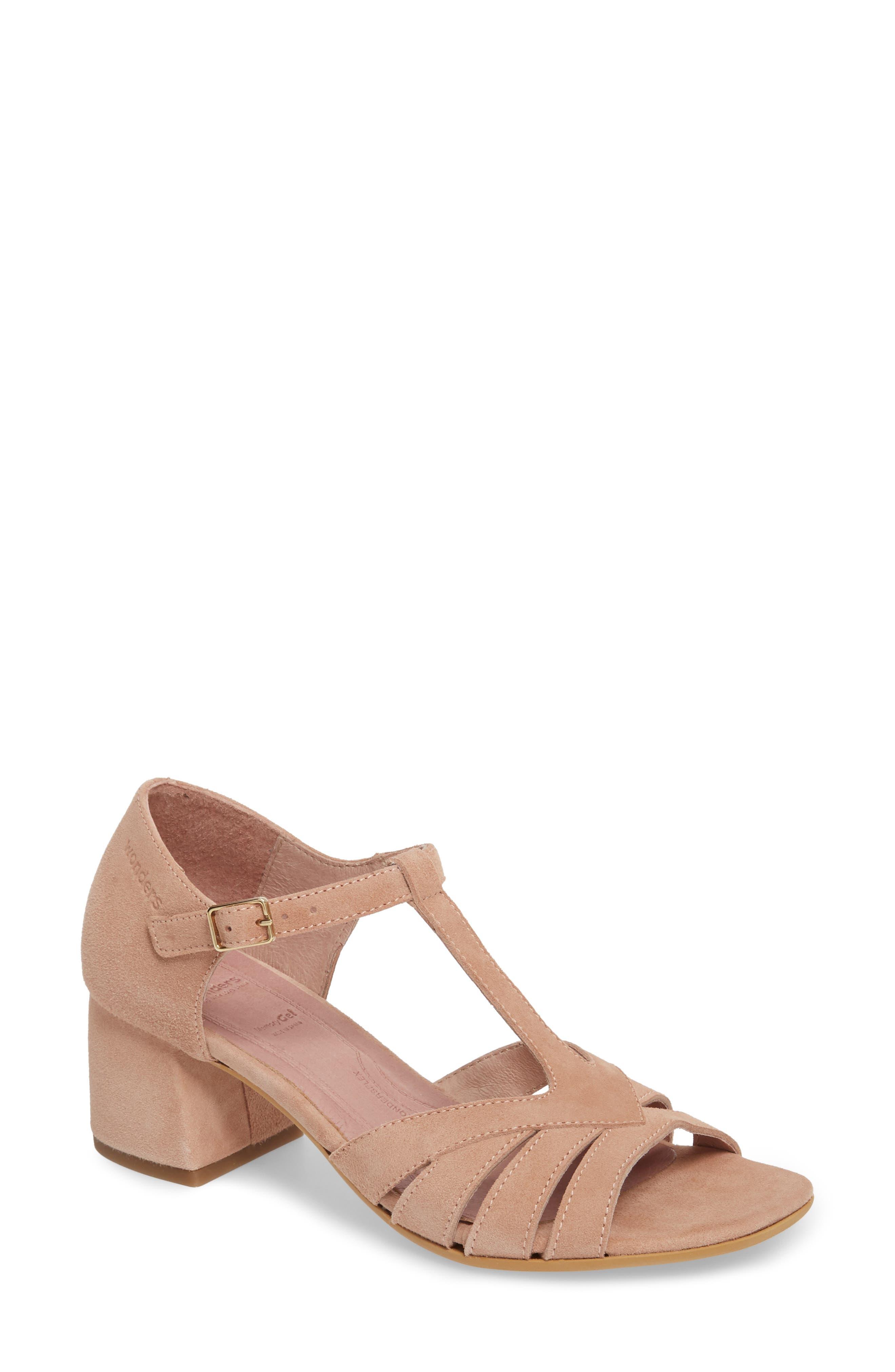 Block Heel Sandal,                         Main,                         color, Nude Suede