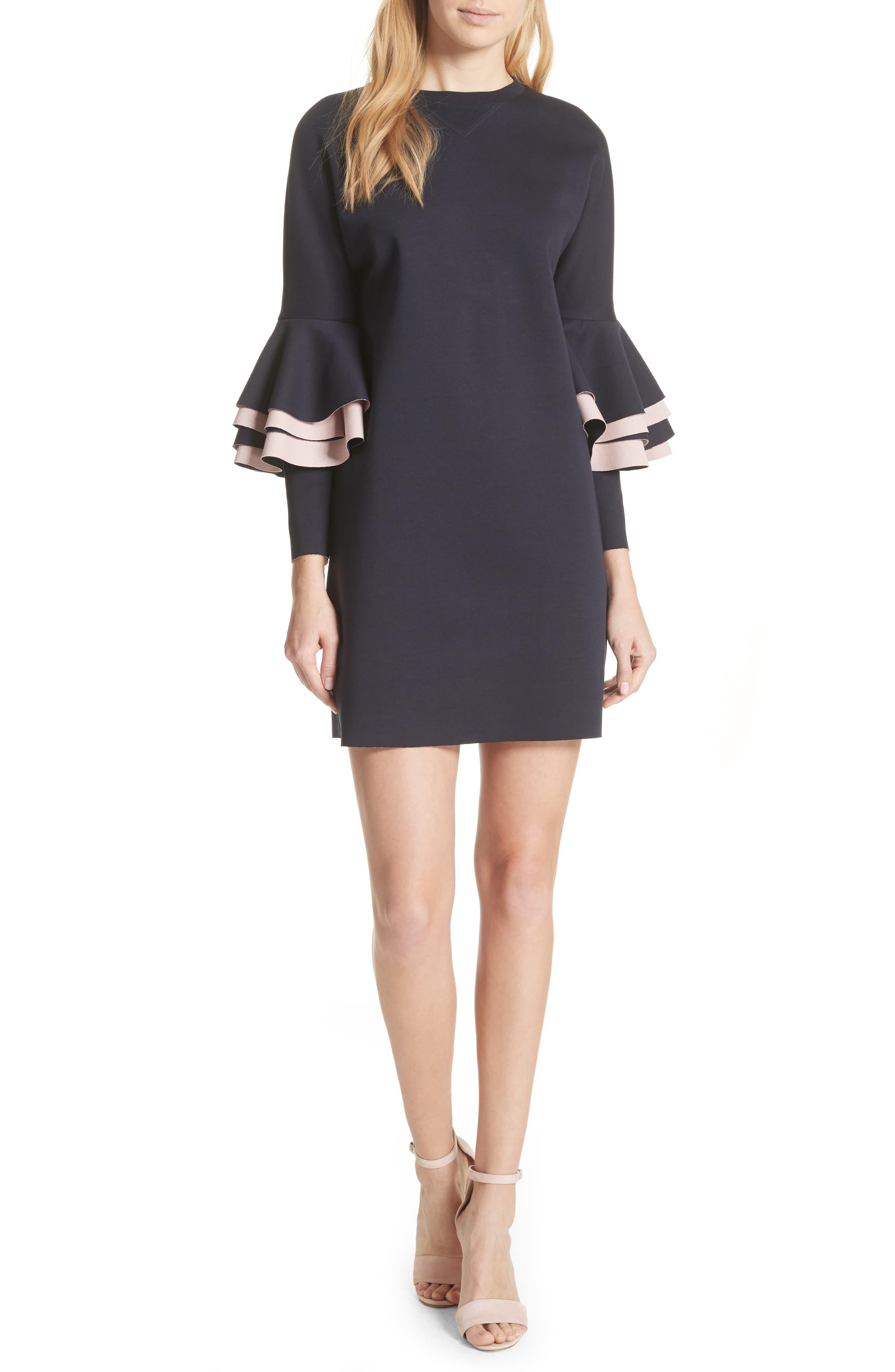 Chloae Frill Sleeve Sweatshirt Dress,                         Main,                         color, Navy