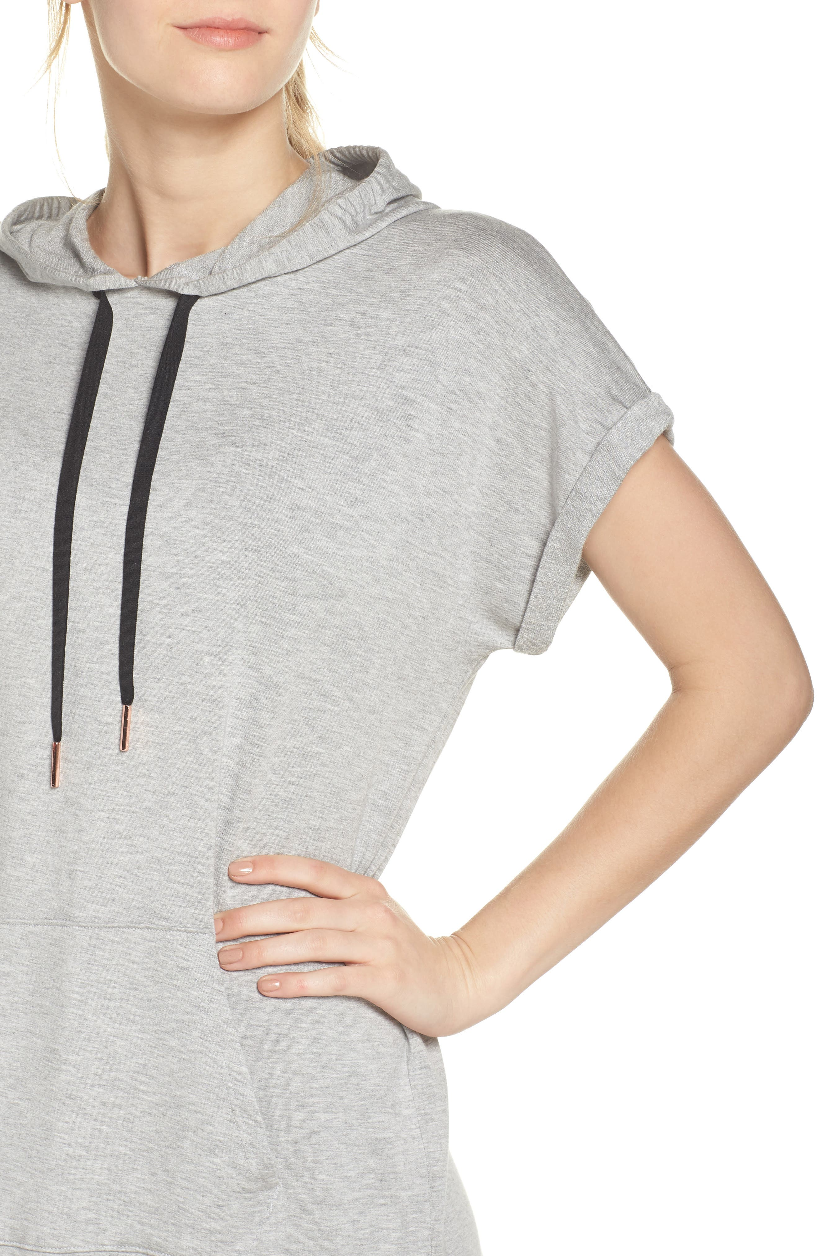 It's All Hoodie Hooded Sweatshirt Dress,                             Alternate thumbnail 4, color,                             Light Heather Gray