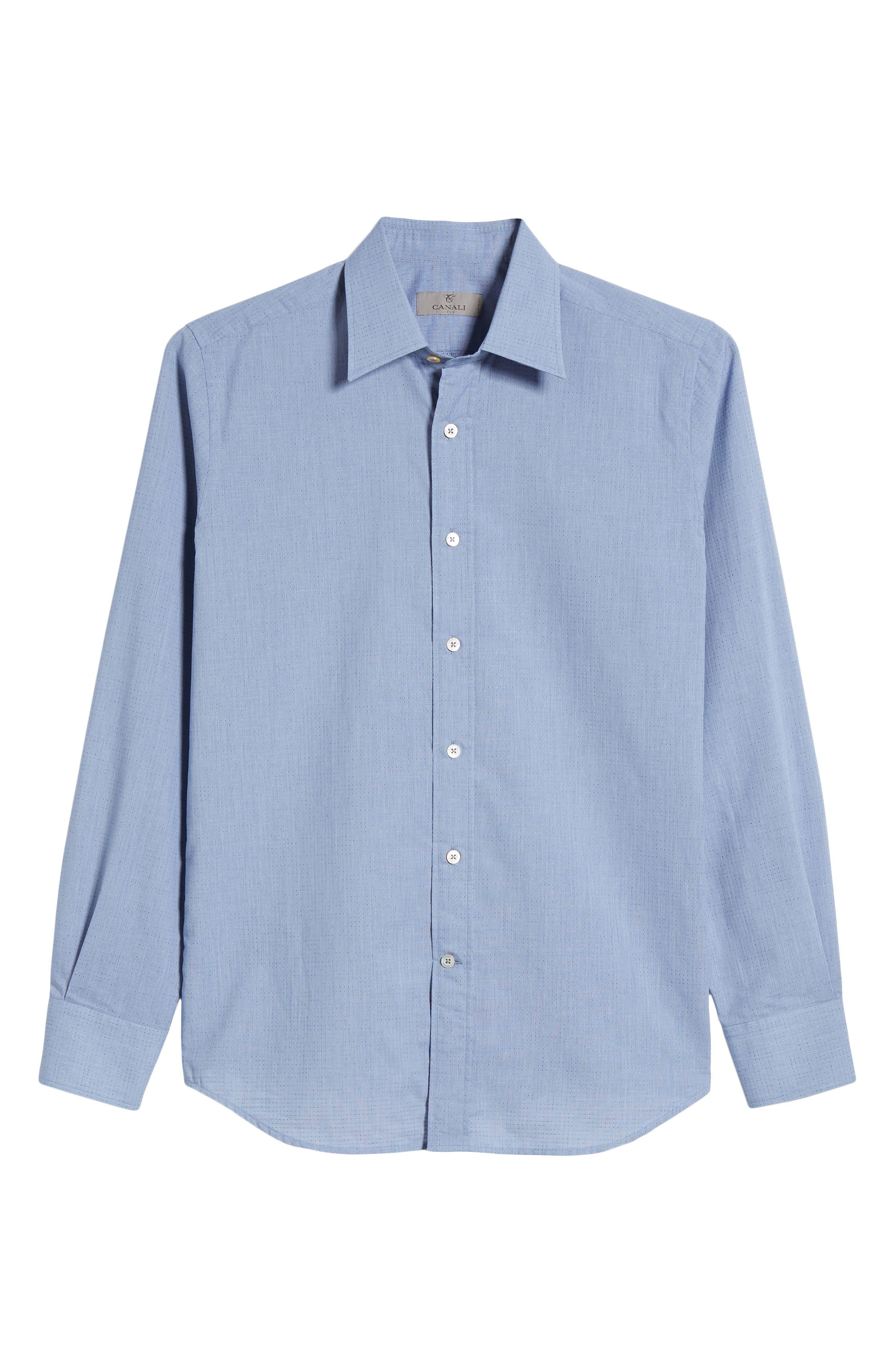 Regular Fit Dot Sport Shirt,                             Alternate thumbnail 6, color,                             Cadet Blue