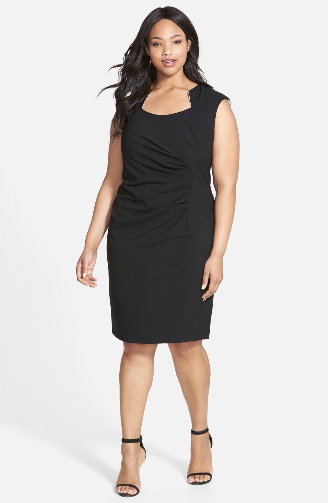 Alternate Image 1 Selected - Calvin Klein Side Ruched Sheath Dress (Plus Size)