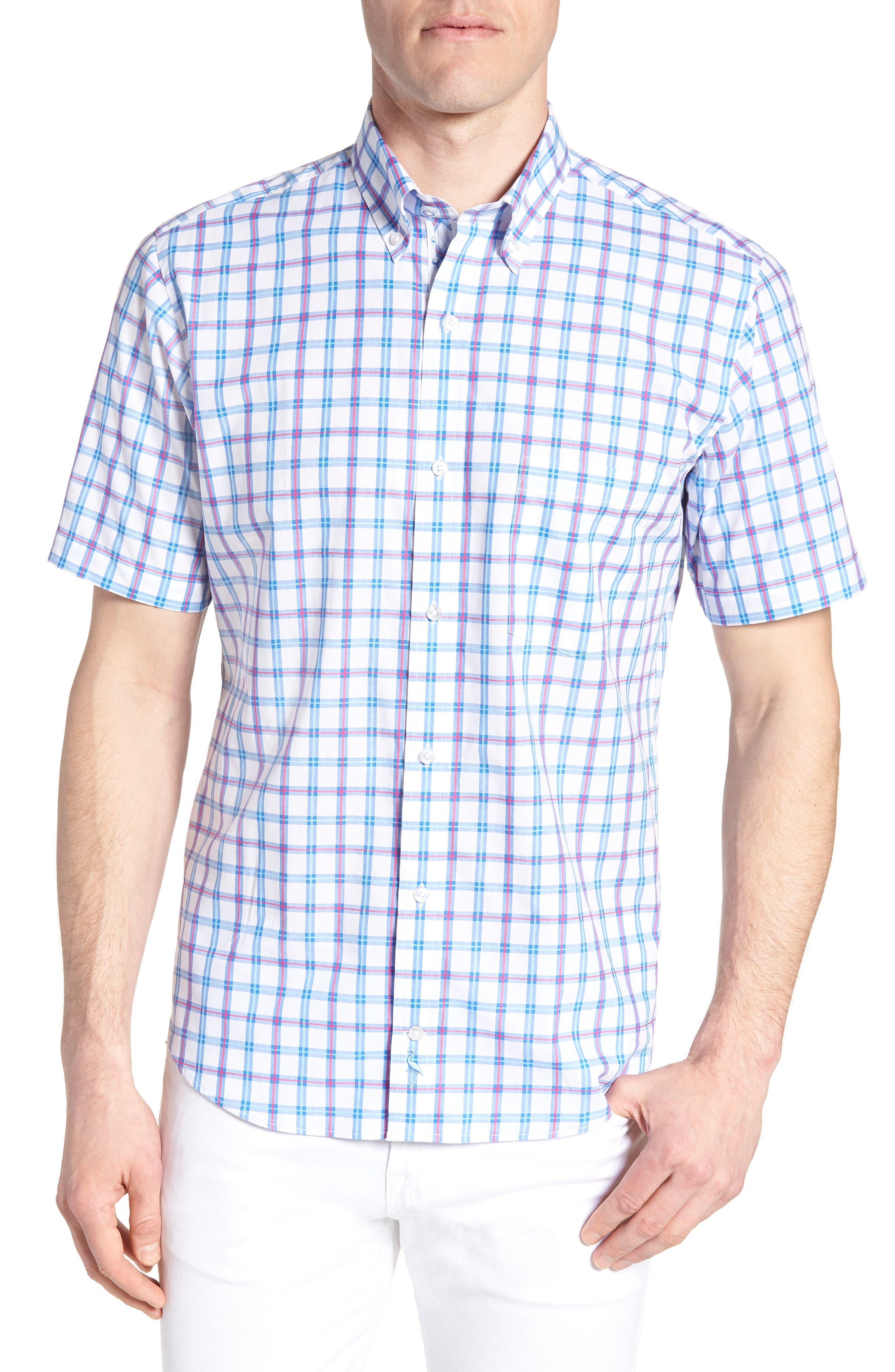 Arman Regular Fit Windowpane Sport Shirt,                         Main,                         color, Light Blue