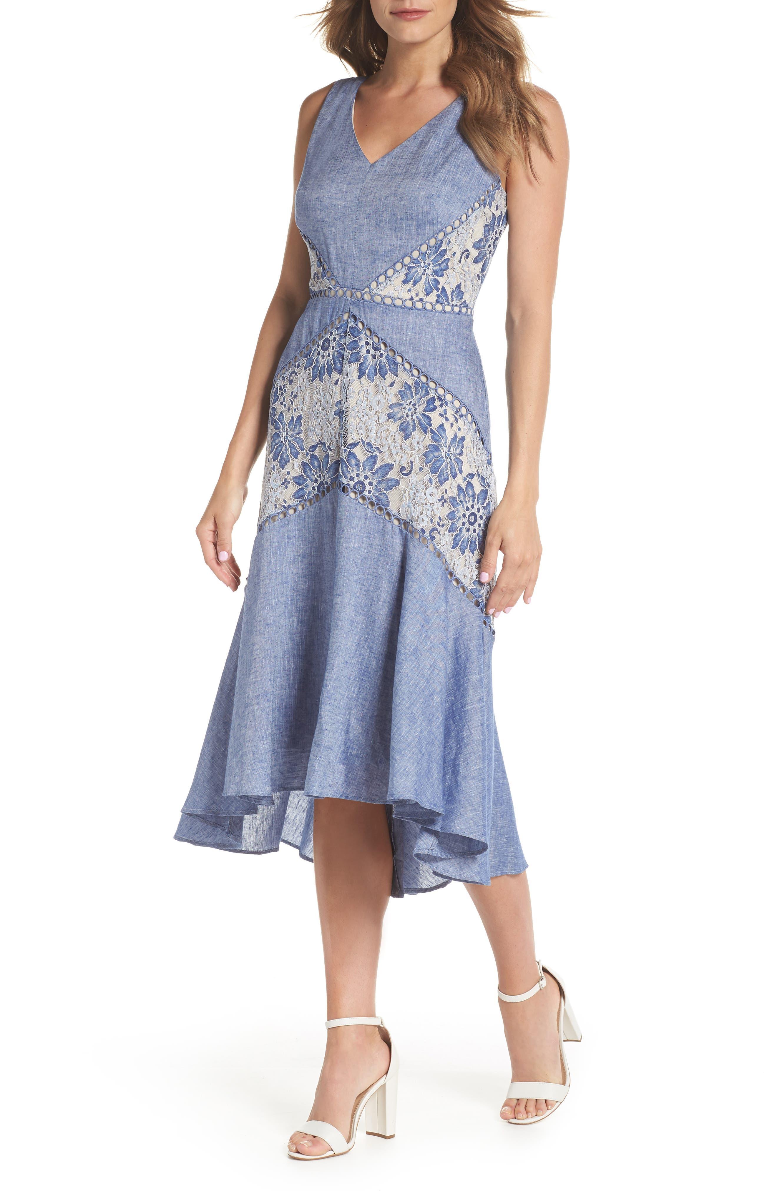 Chambray & Lace Midi Dress,                         Main,                         color, Chambray Nude