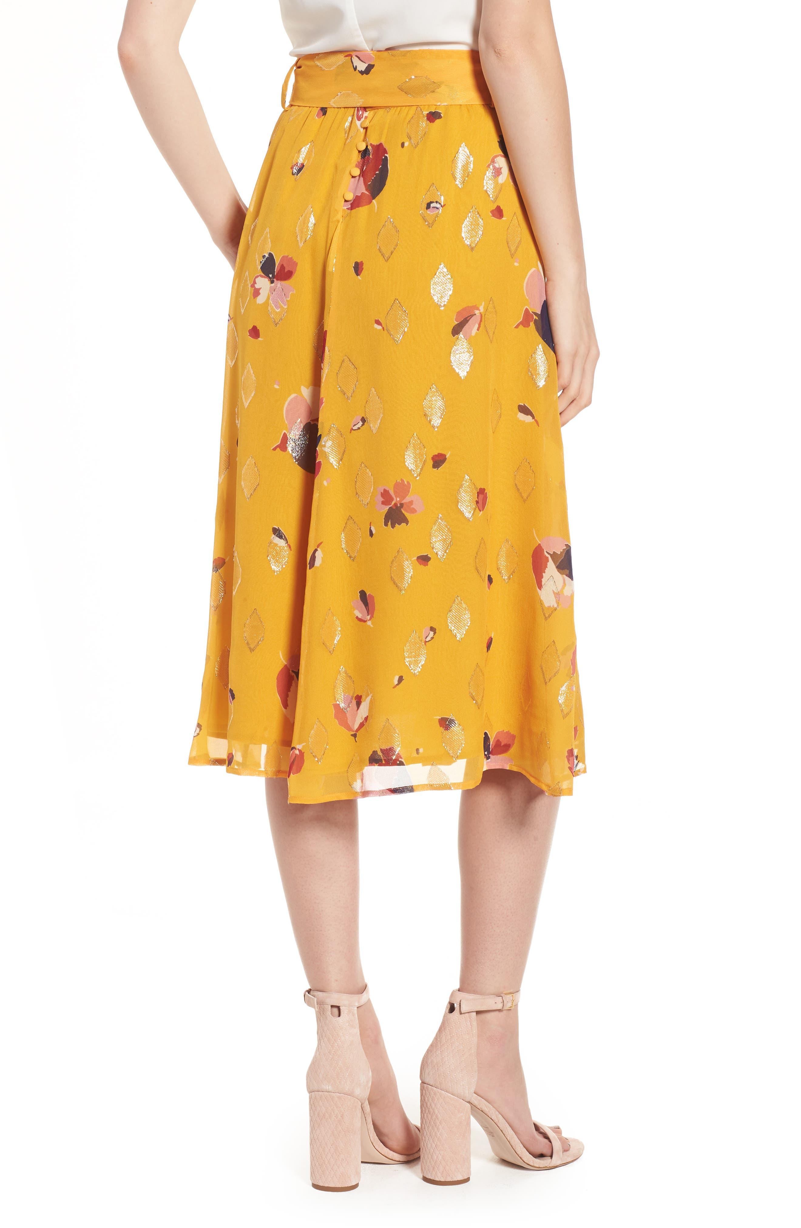 Arizona Floral & Metallic Silk Blend Skirt,                             Alternate thumbnail 3, color,                             Big Flowers 60S On Saffron