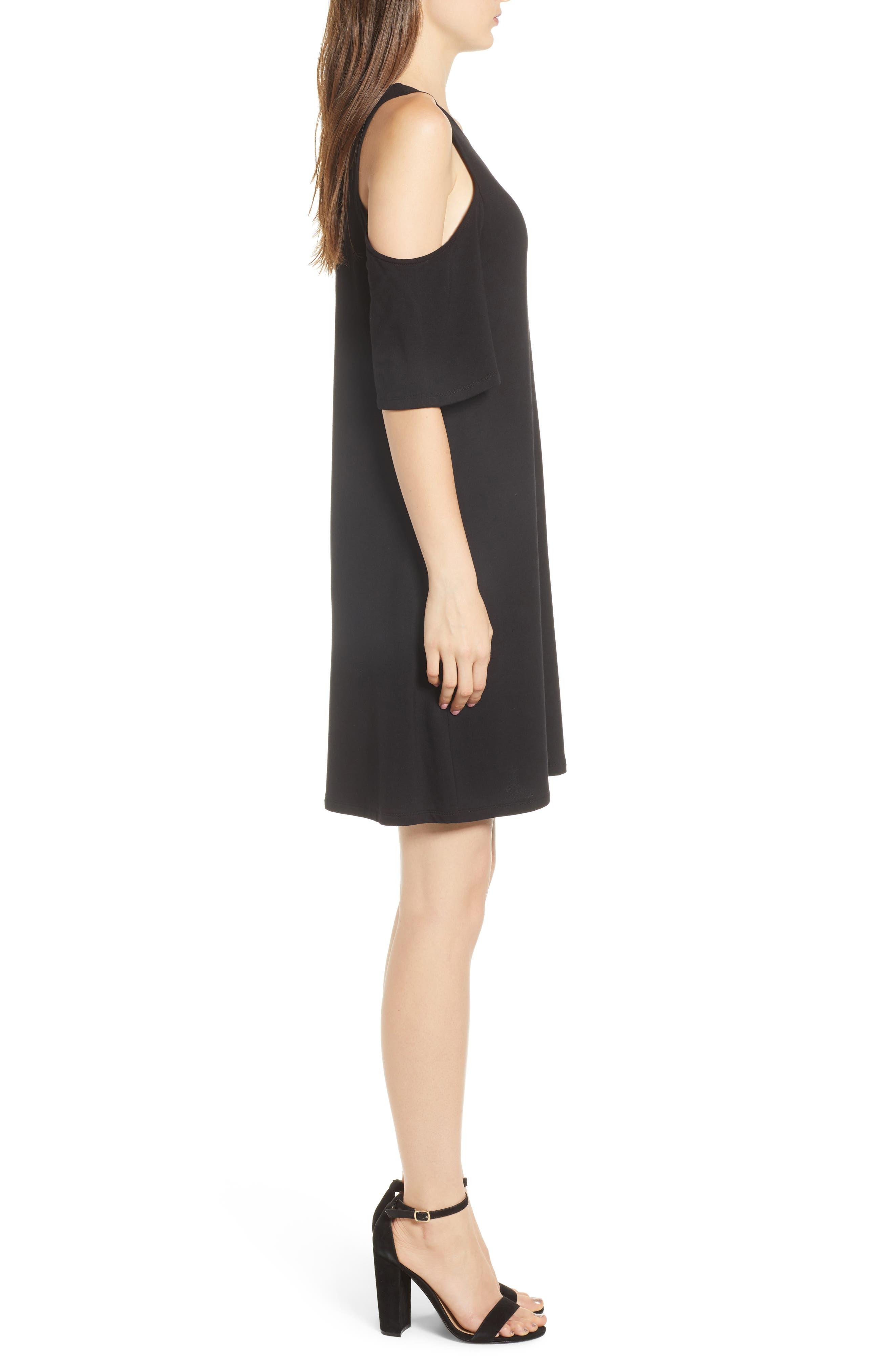 Hyde Cold Shoulder T-Shirt Dress,                             Alternate thumbnail 3, color,                             Black