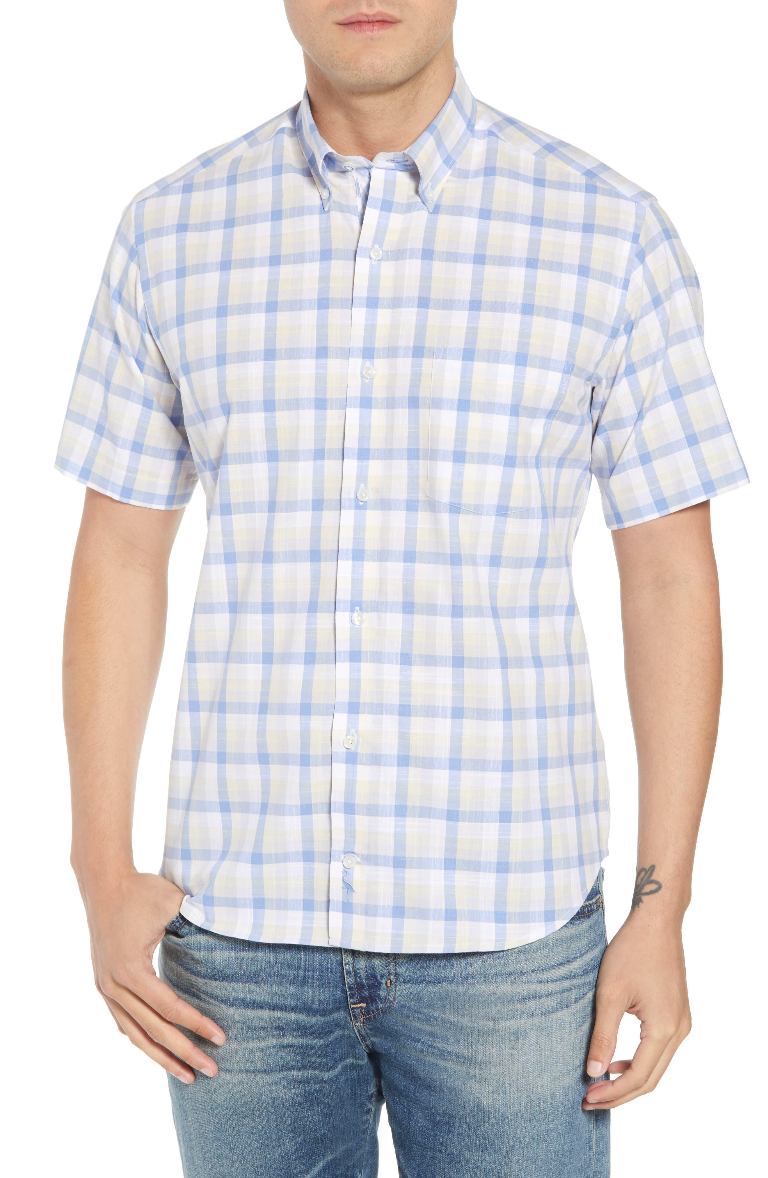Jaziel Regular Fit Check Sport Shirt,                         Main,                         color, Light Blue