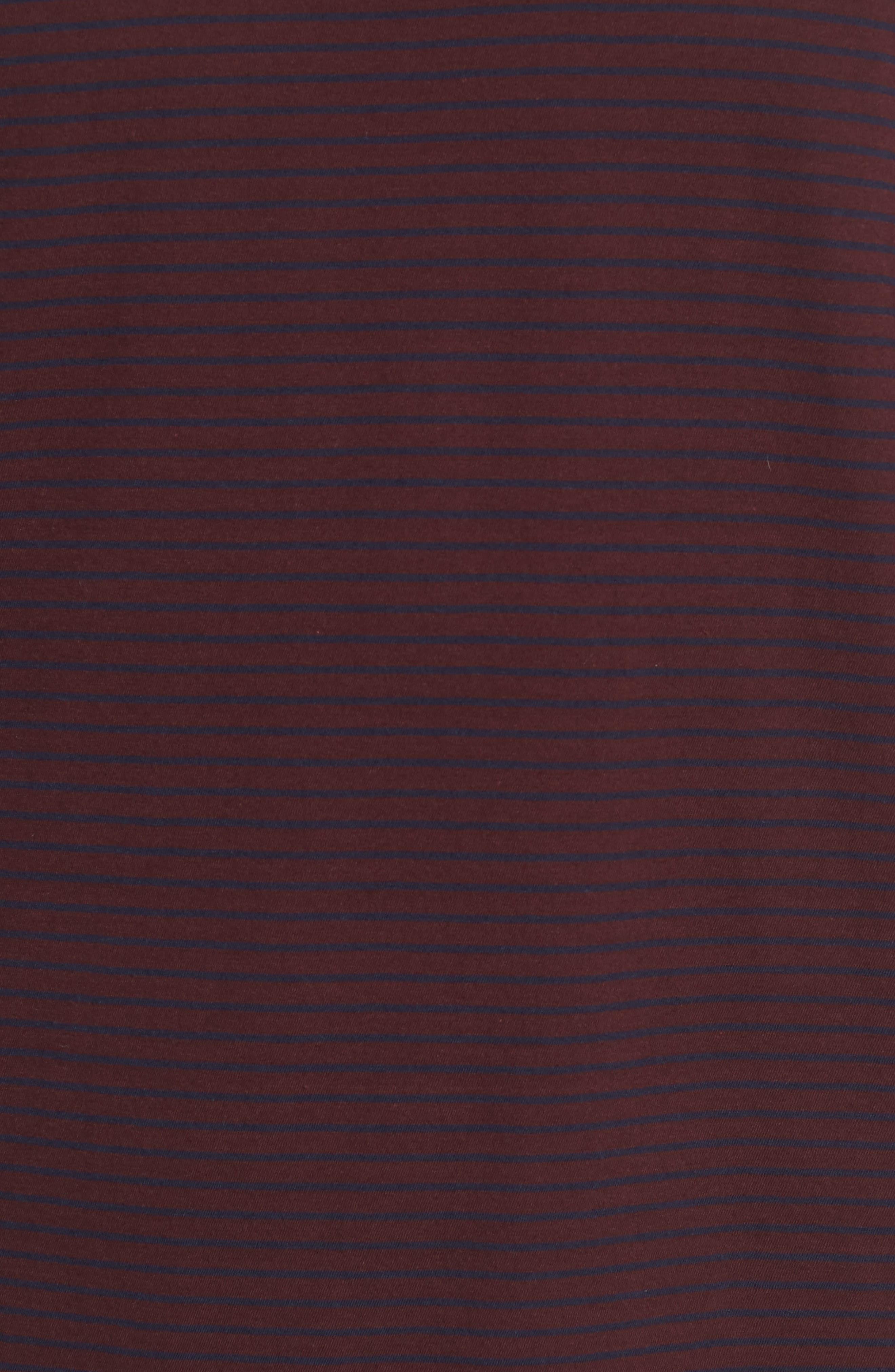 Stripe Long Sleeve Crewneck T-Shirt,                             Alternate thumbnail 5, color,                             Black Cherry/ New Coastal