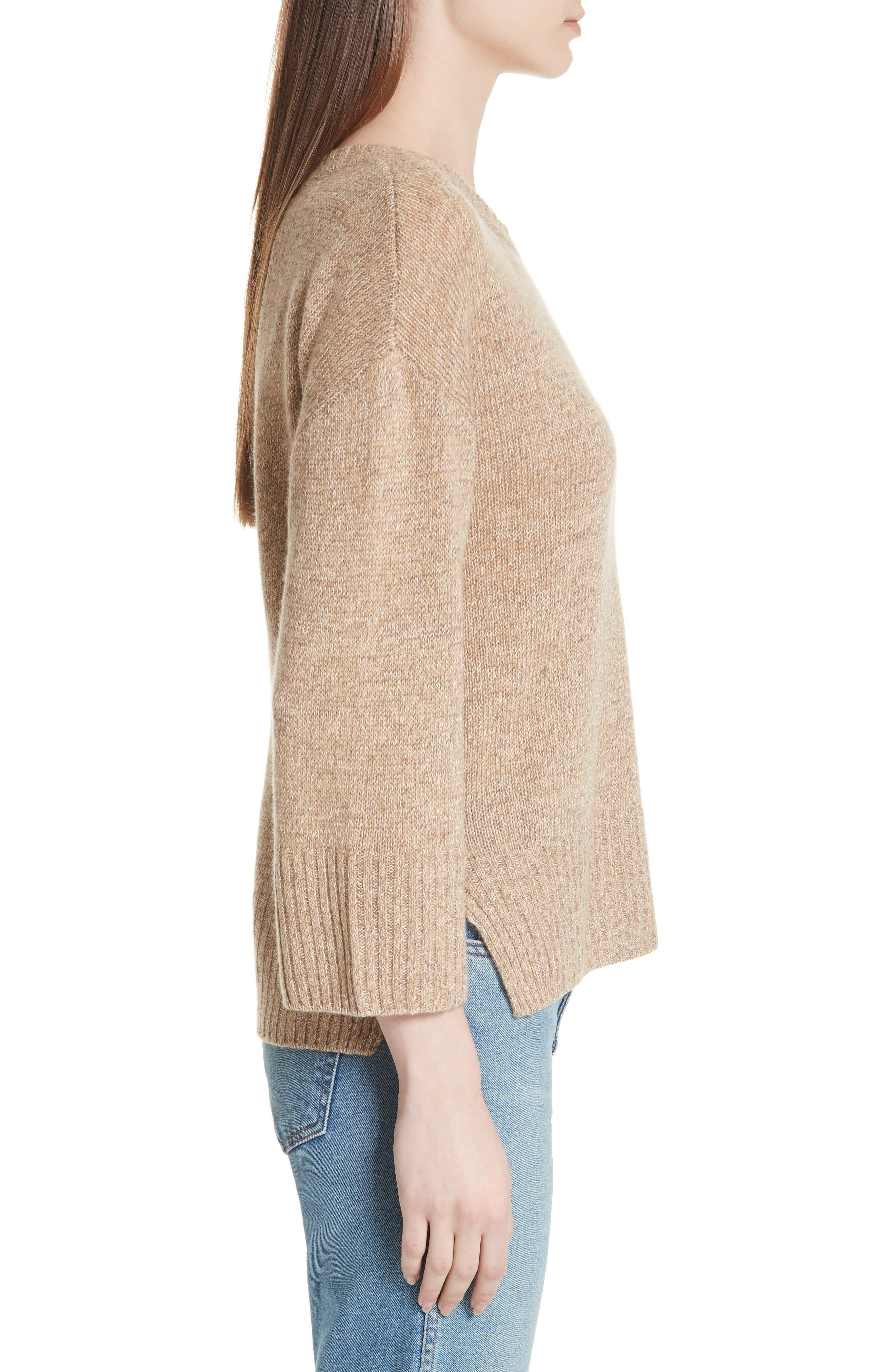 Keyhole Back Sweater,                             Alternate thumbnail 3, color,                             Camel
