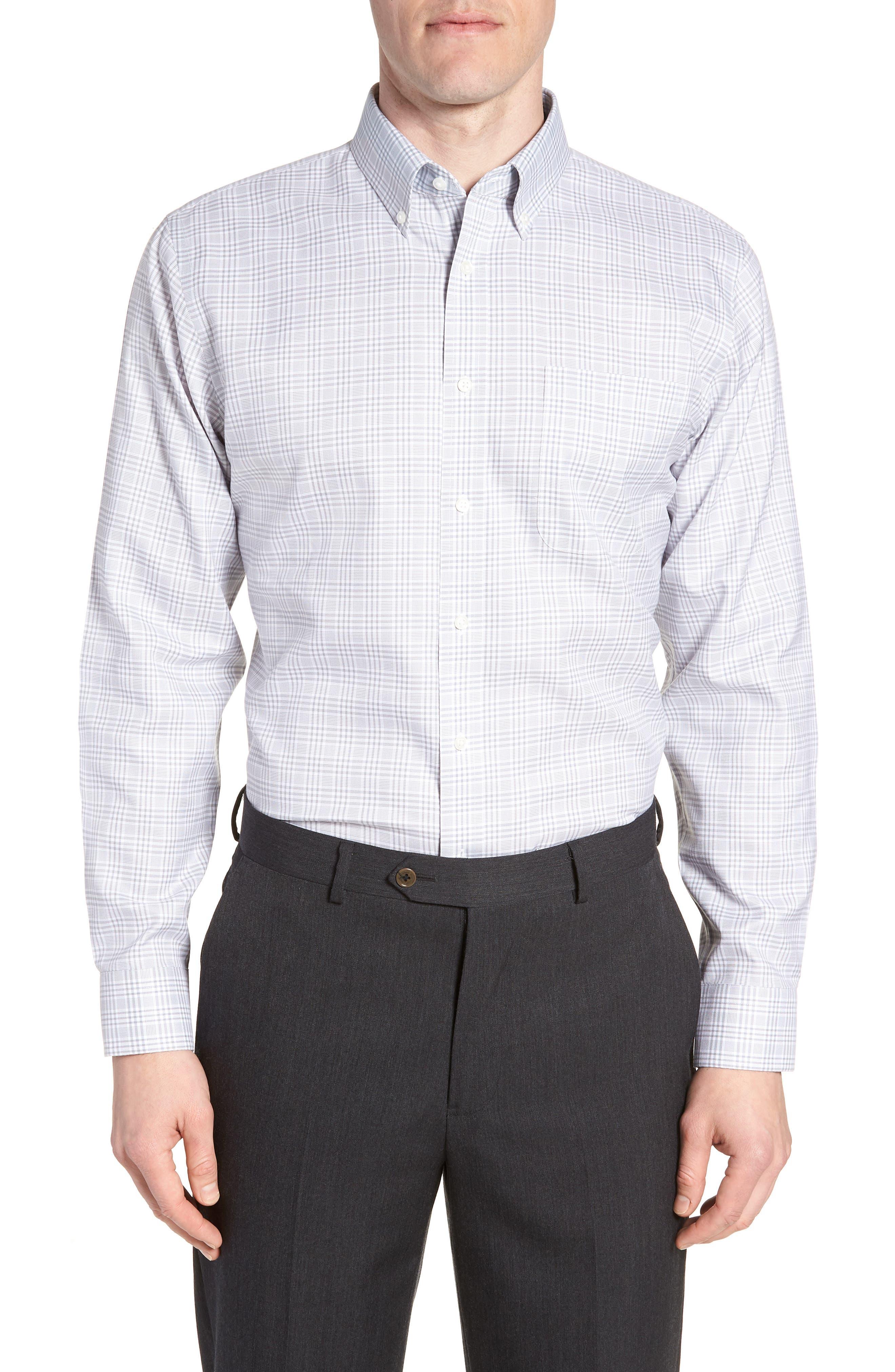 Smartcare<sup>™</sup> Traditional Fit Plaid Dress Shirt,                             Main thumbnail 1, color,                             Grey Sleet