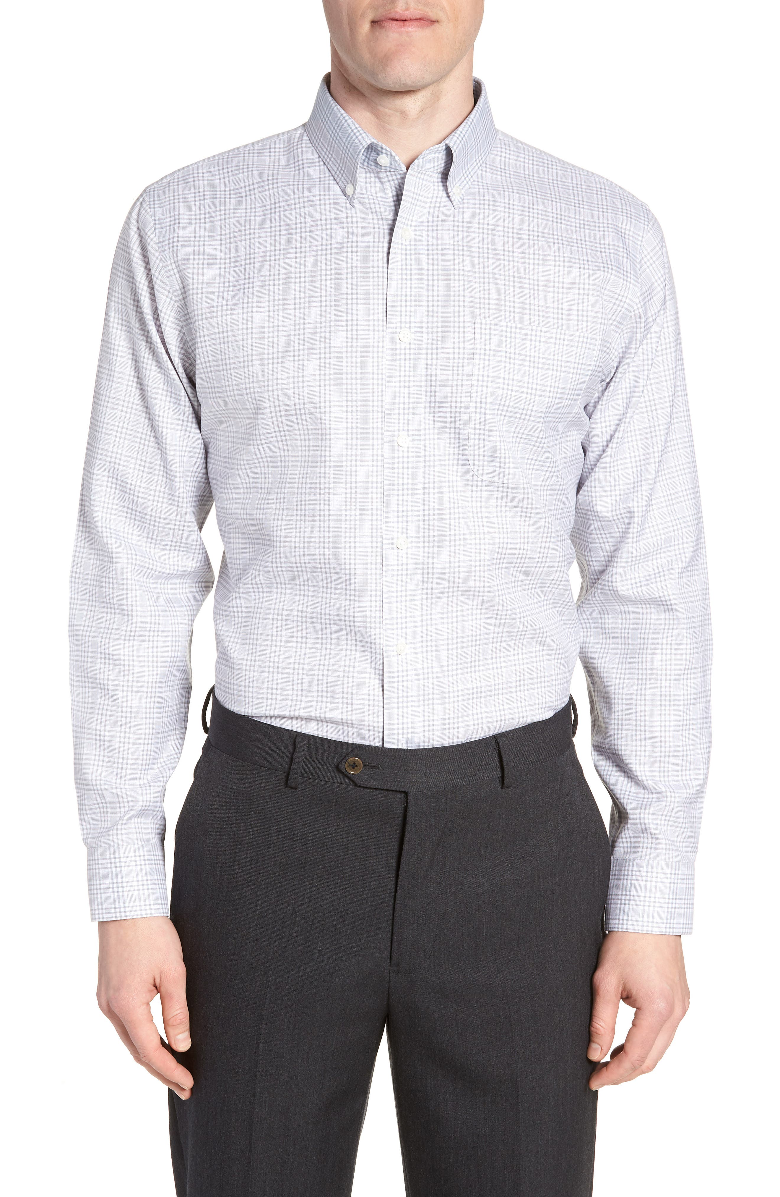 Smartcare<sup>™</sup> Traditional Fit Plaid Dress Shirt,                         Main,                         color, Grey Sleet