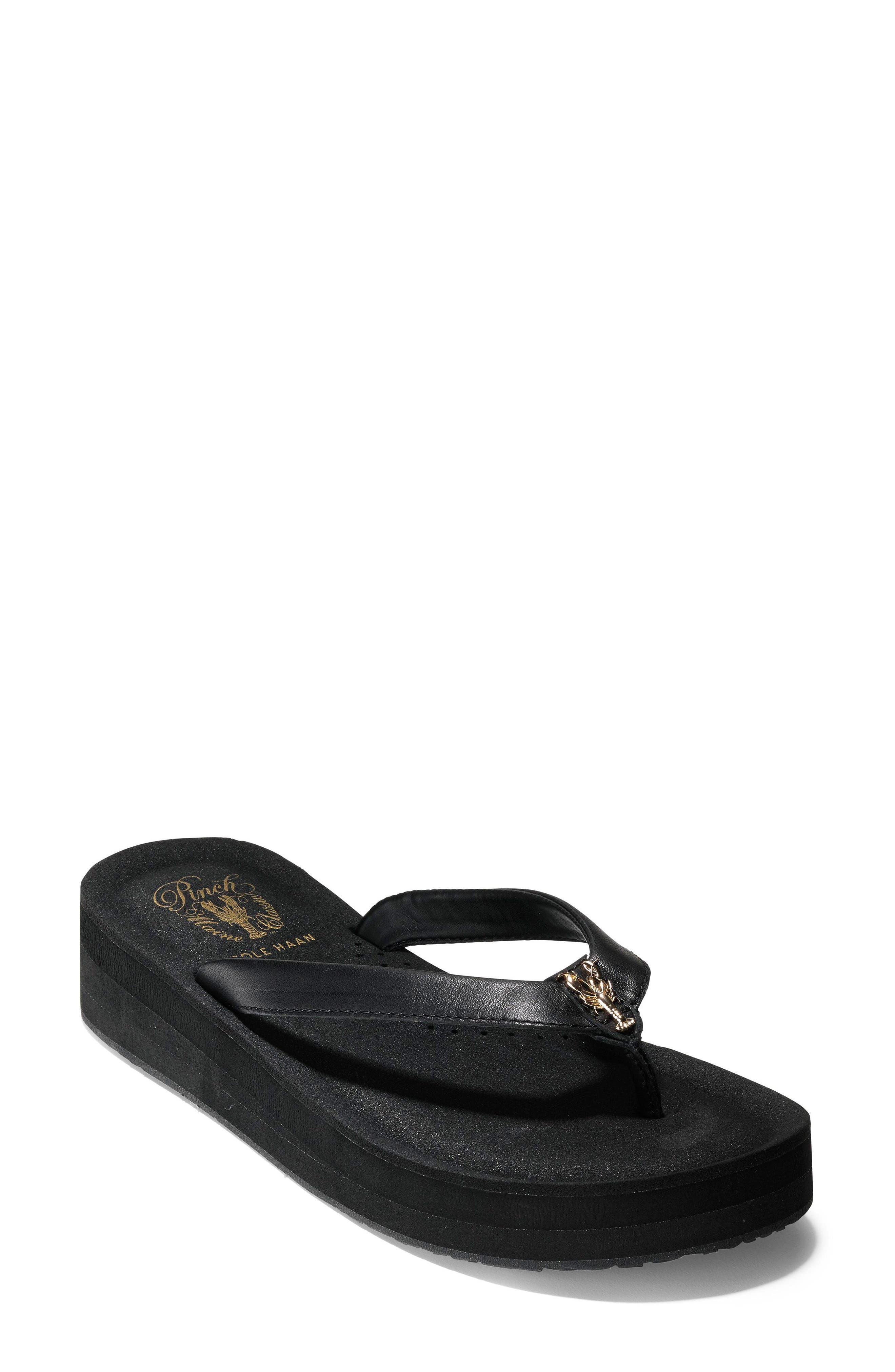 Lobster Wedge Flip Flop,                         Main,                         color, Black Leather