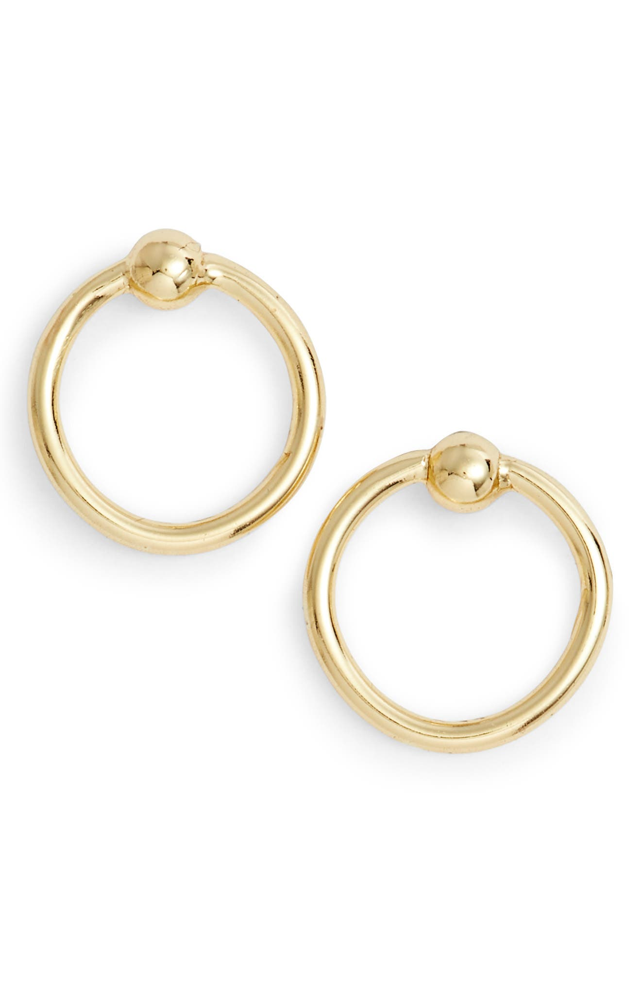 Stationed Open Ring Stud Earrings,                             Main thumbnail 1, color,                             Gold