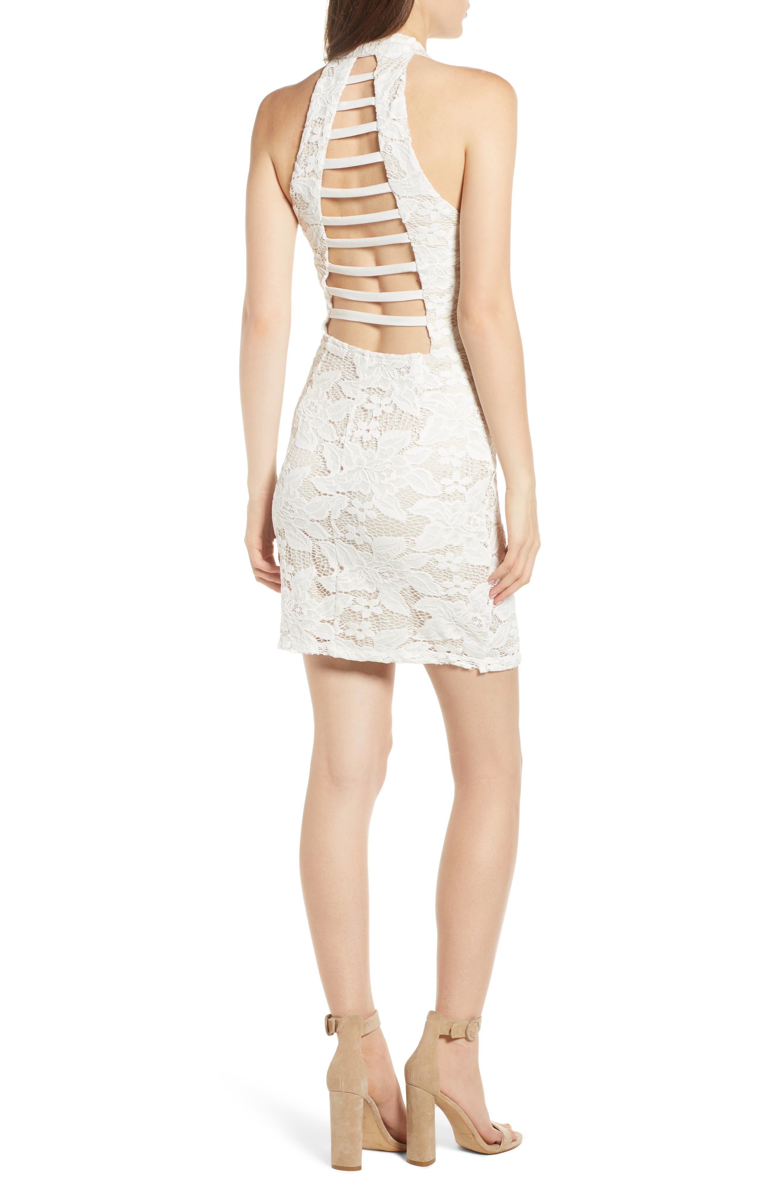 Lace Body-Con Minidress,                             Alternate thumbnail 2, color,                             Ivory/ Nude