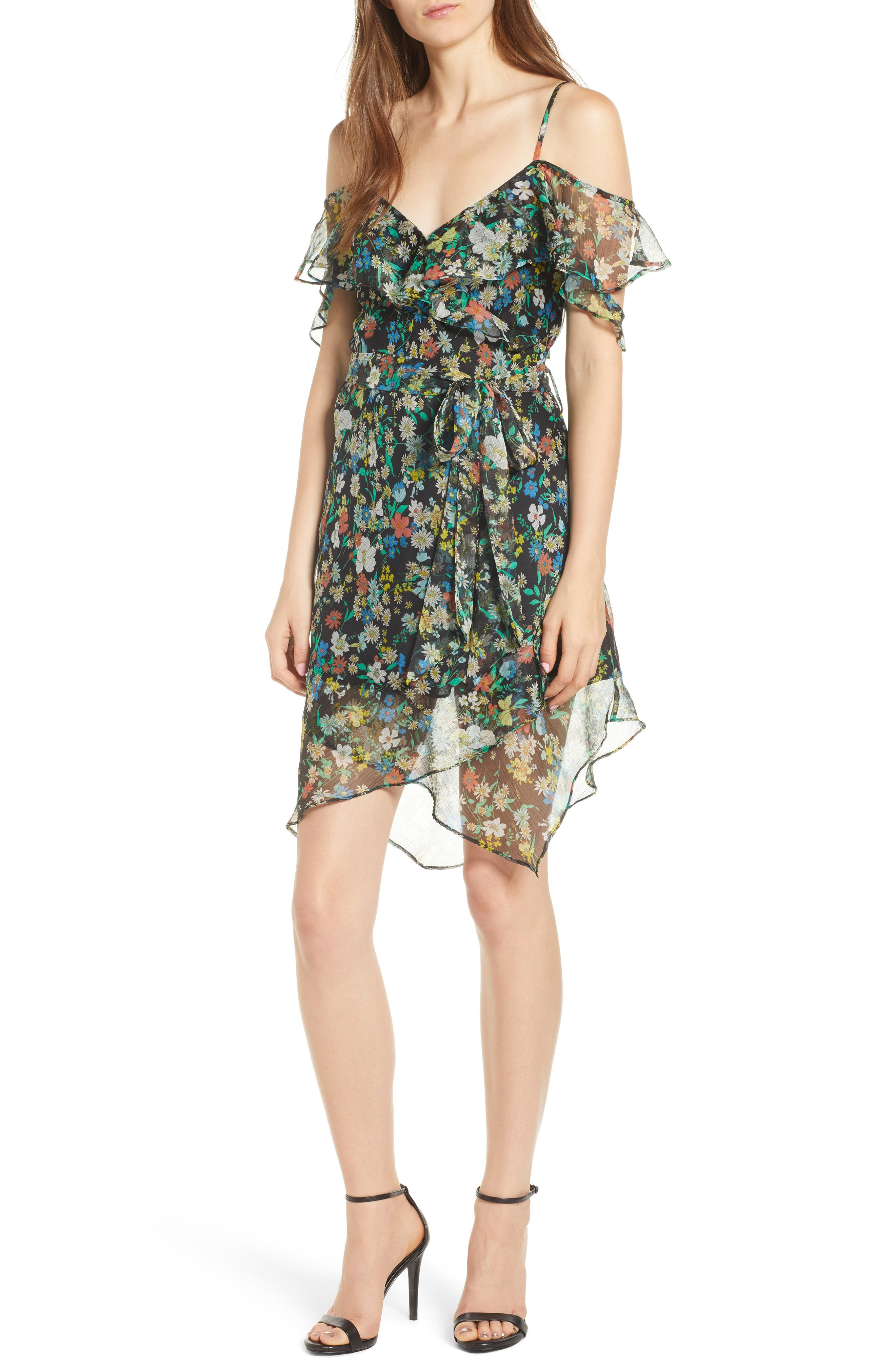 Floral Ruffle Wrap Dress,                         Main,                         color, Yellow/ Black Multi