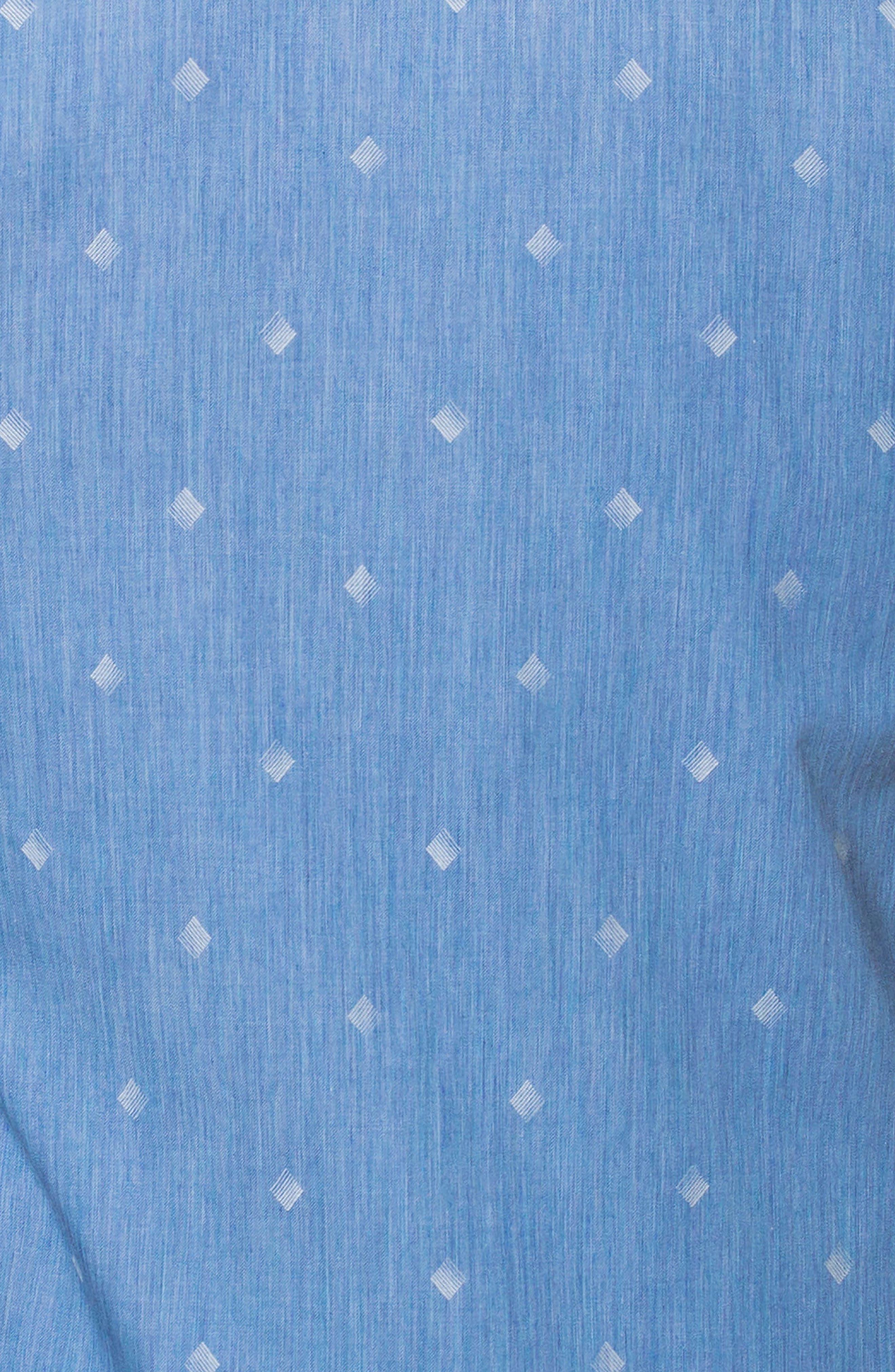 Wall Street Print Sport Shirt,                             Alternate thumbnail 4, color,                             Blue