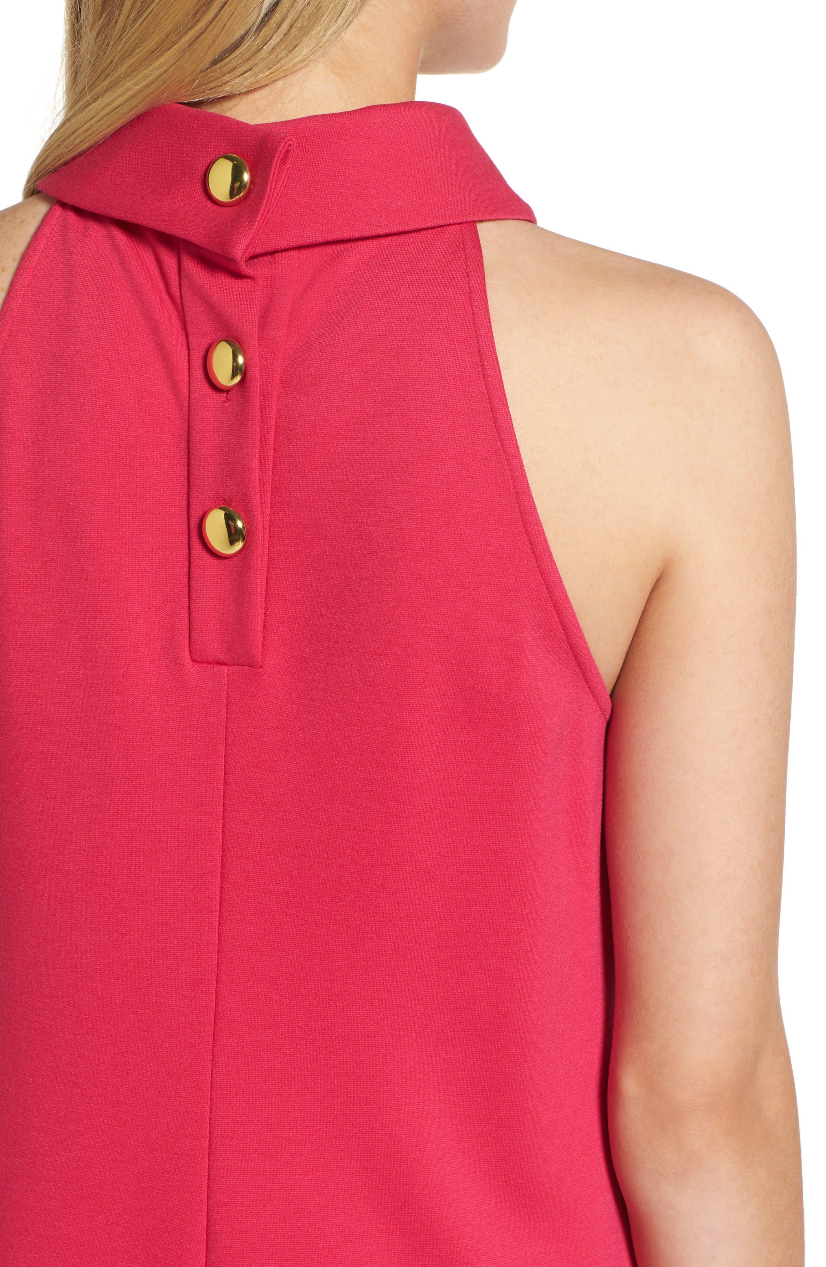 Button Back Ponte Dress,                             Alternate thumbnail 4, color,                             Fuschia