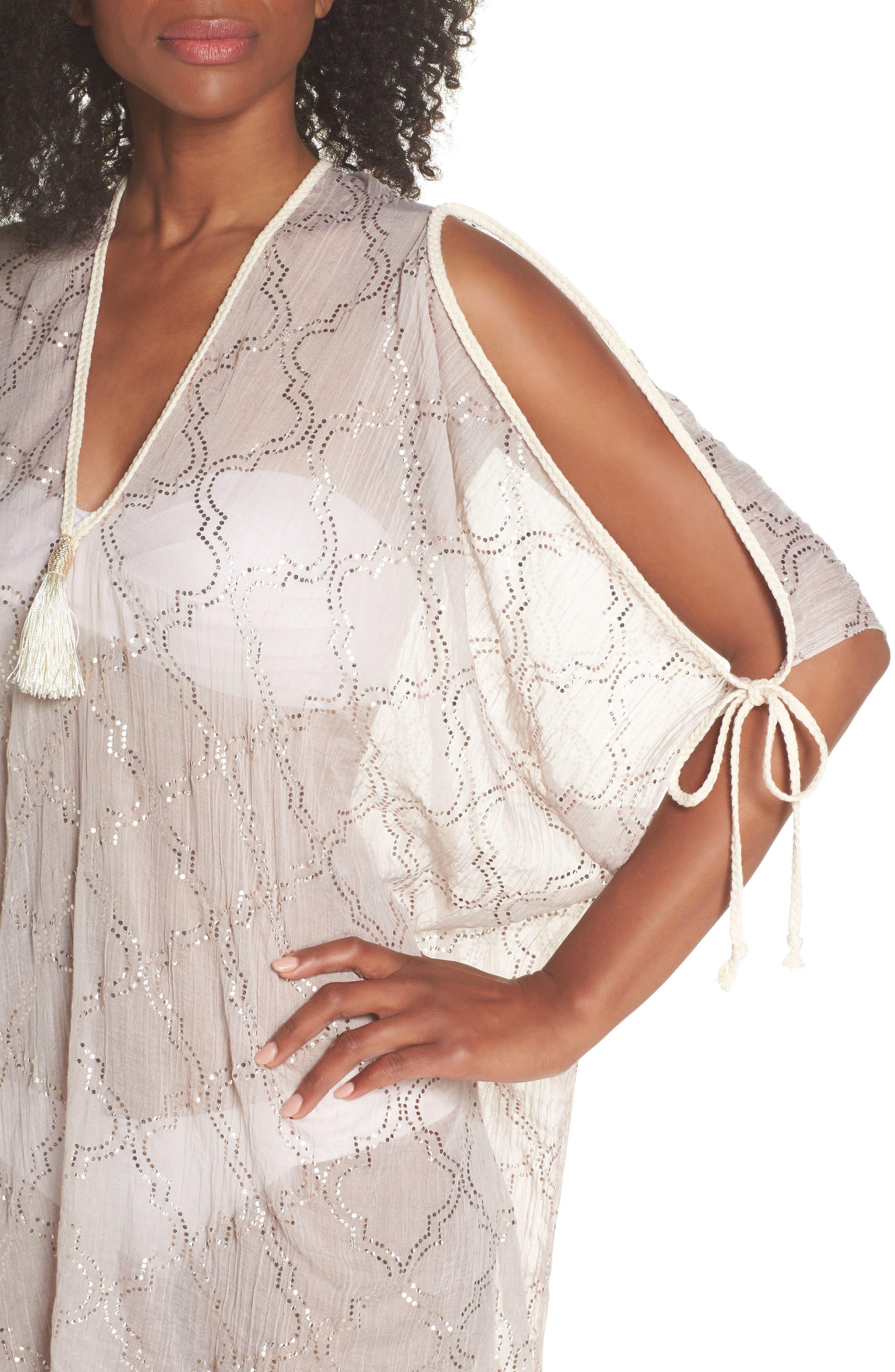 Cold Shoulder Cover-Up Dress,                             Alternate thumbnail 4, color,                             Sand