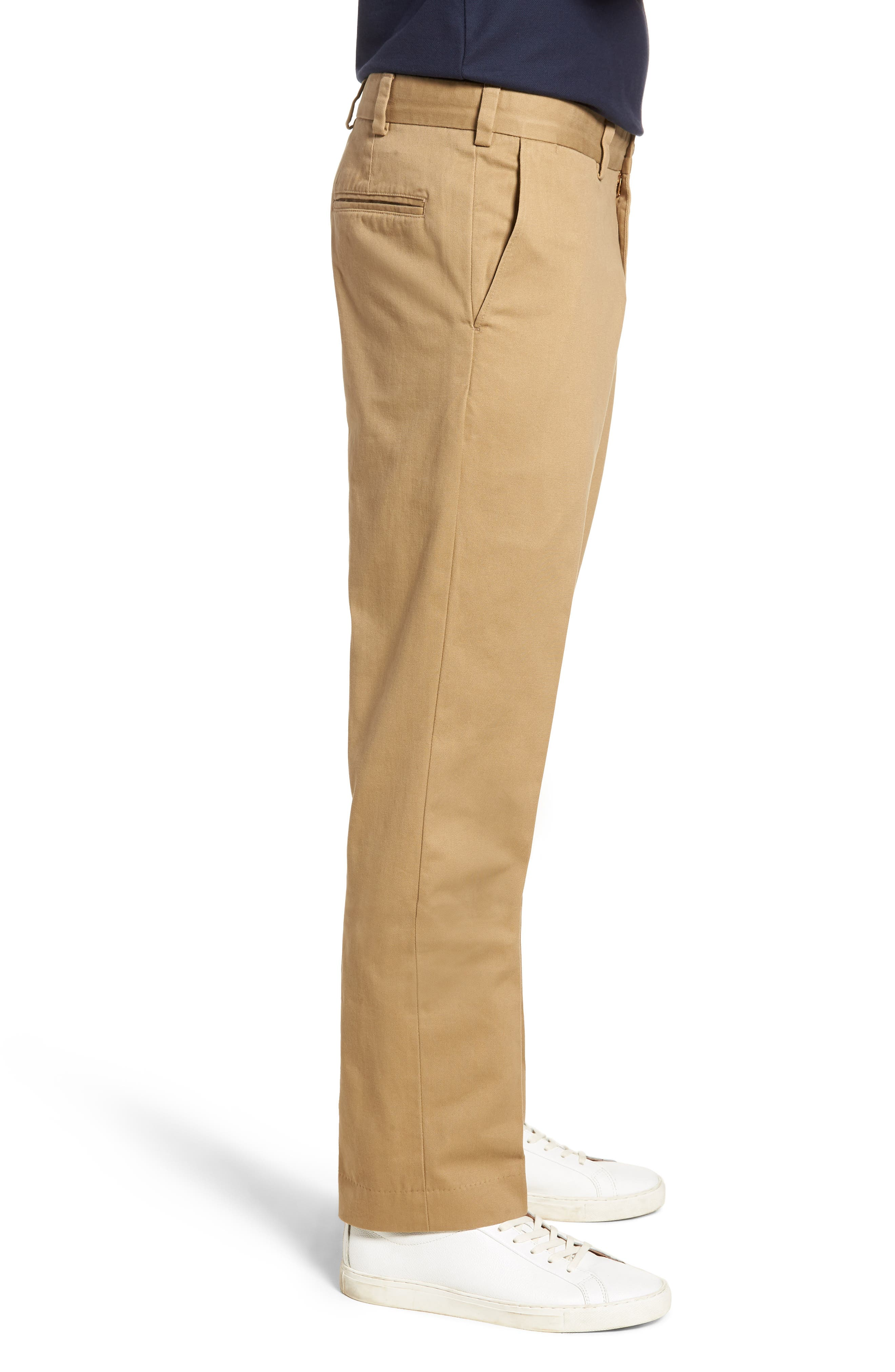 M3 Straight Fit Vintage Twill Flat Front Pants,                             Alternate thumbnail 3, color,                             British Khaki