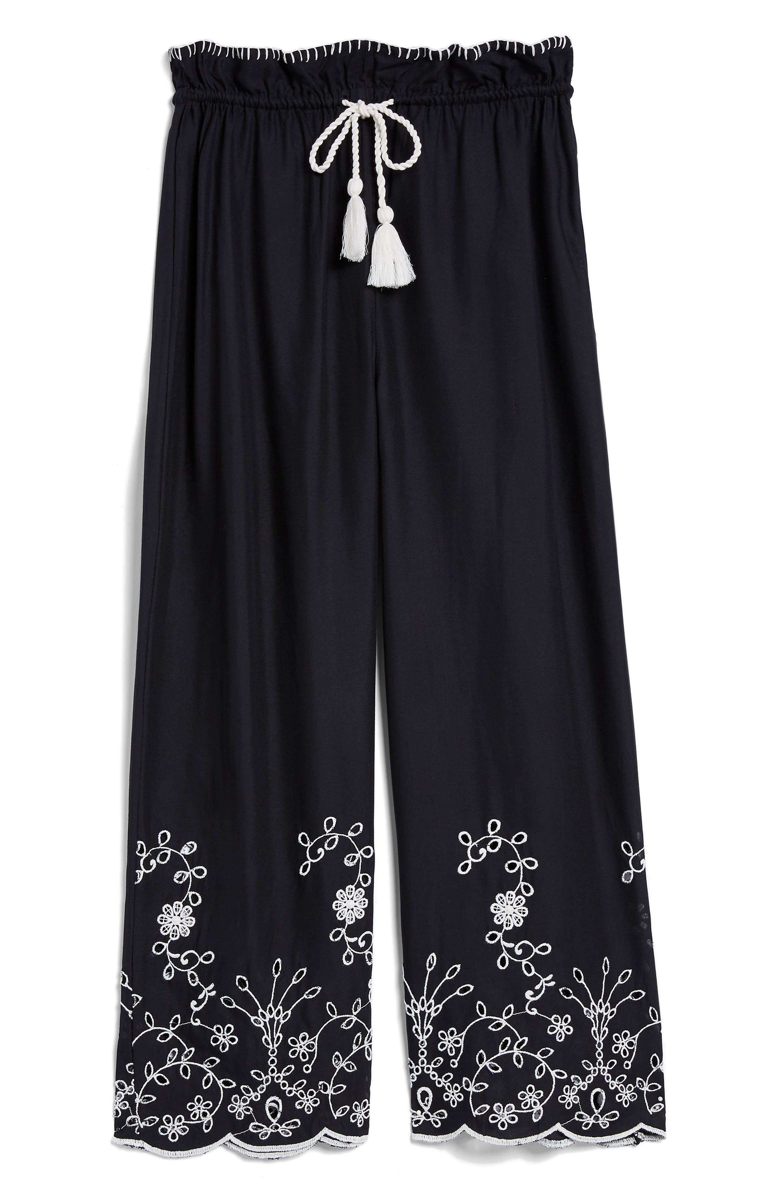 Embroidered Crop Wide Trousers,                             Alternate thumbnail 4, color,                             Black Multi