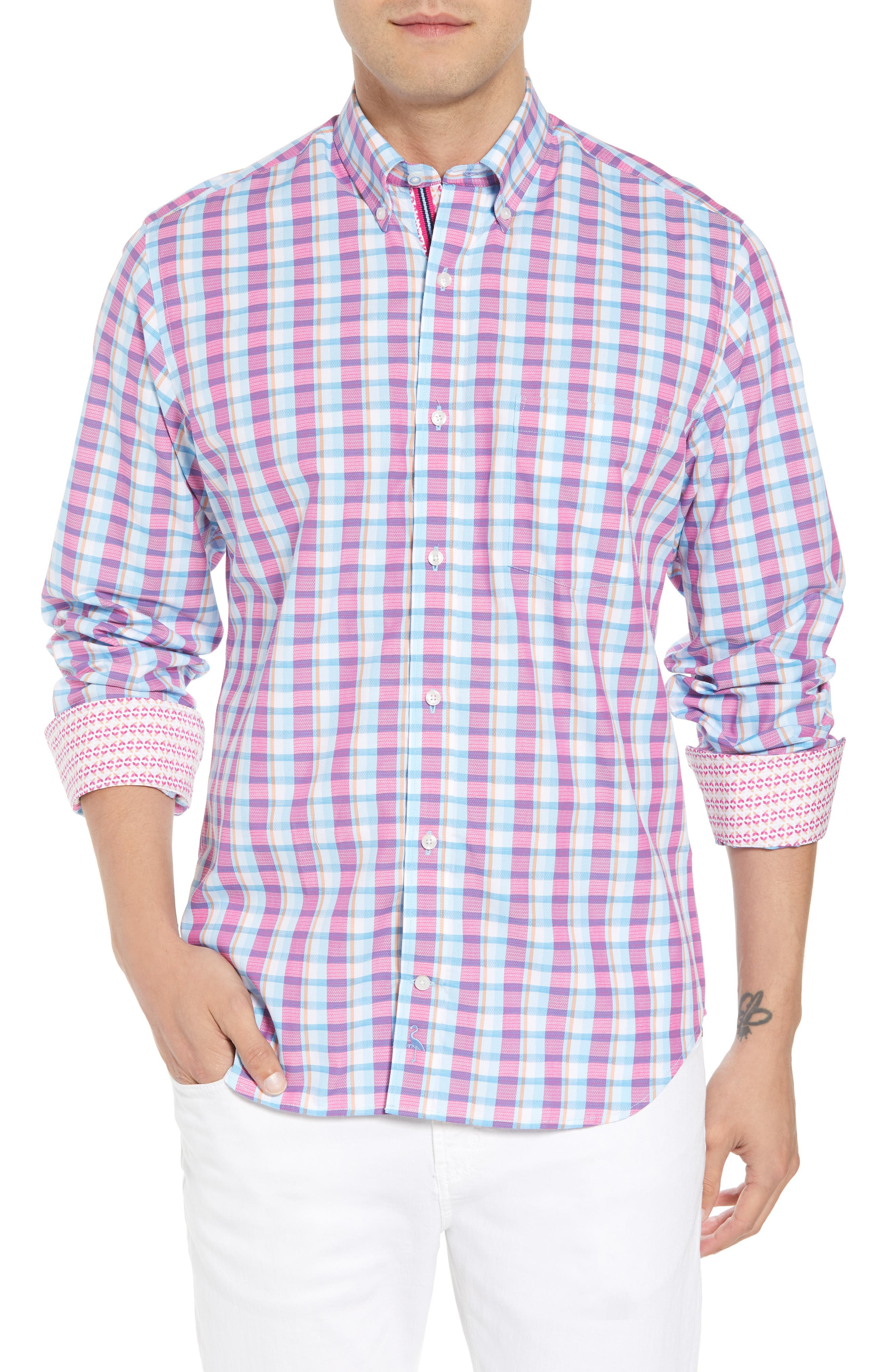 Leith Regular Fit Check Sport Shirt,                         Main,                         color, Turquoise