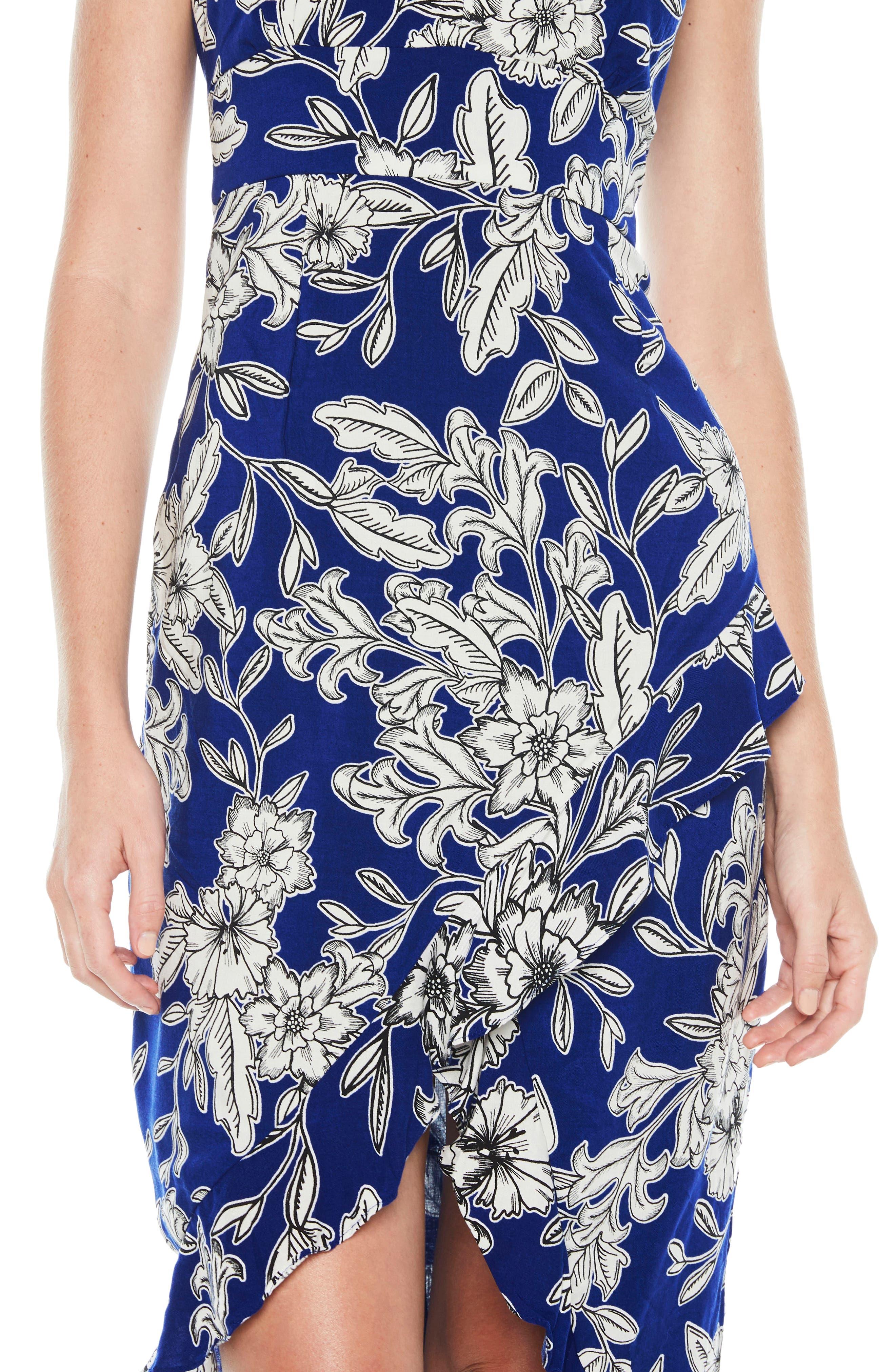 Petra Floral Dress,                             Alternate thumbnail 4, color,                             Cobalt Floral