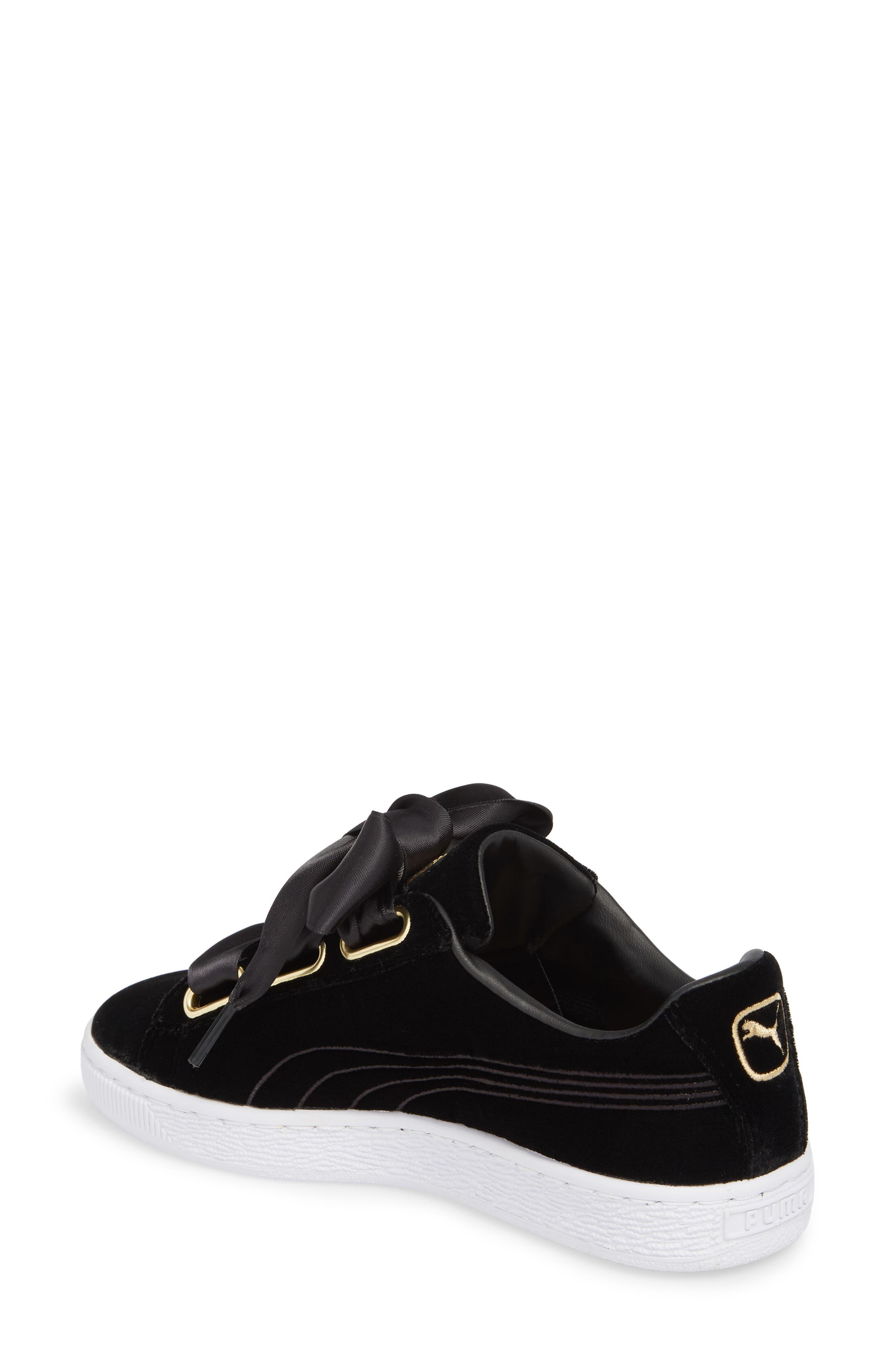 Basket Heart Hyper Embroidered Sneaker,                             Alternate thumbnail 2, color,                             Black