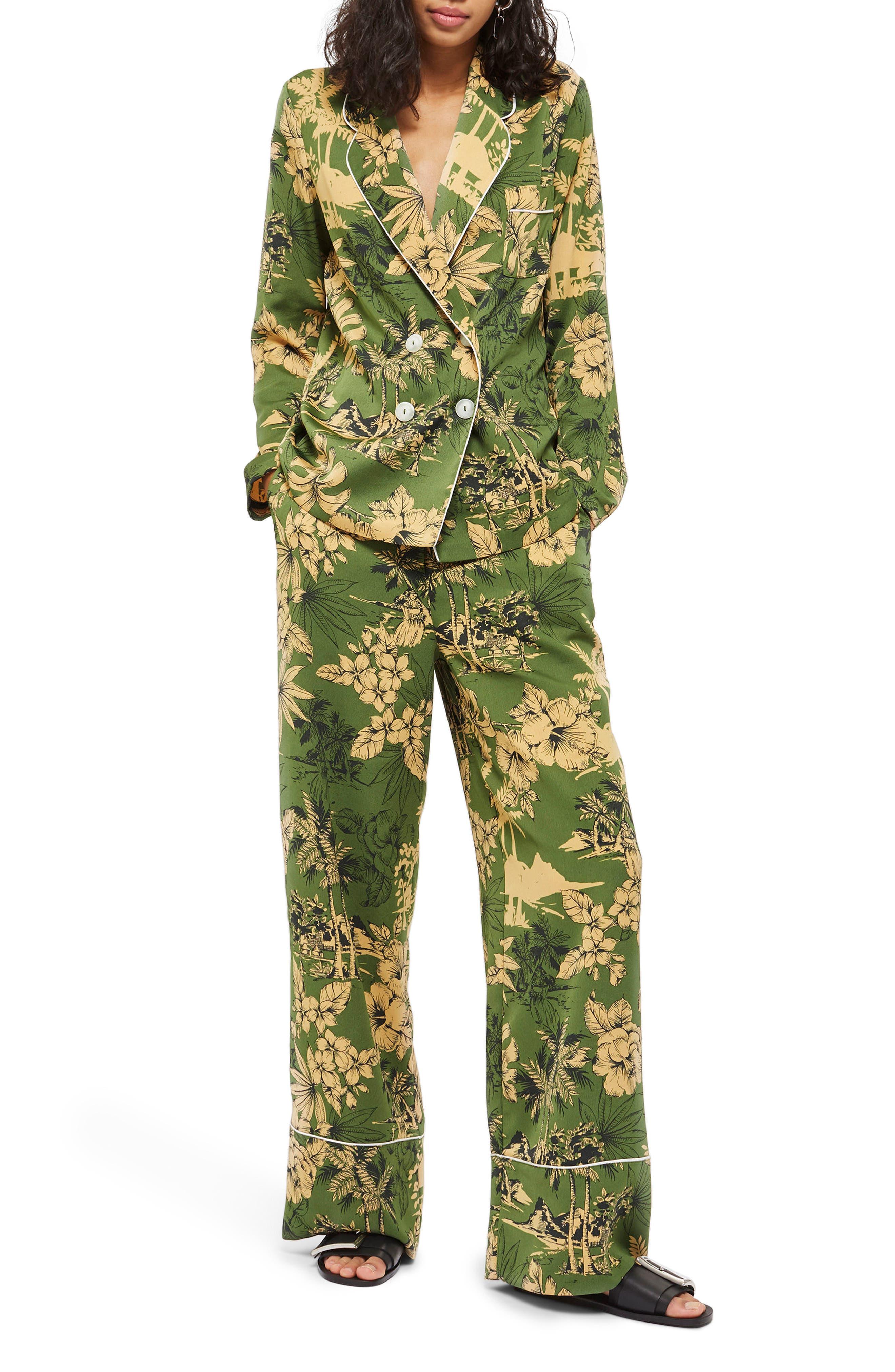 Tropical Pajama Trousers,                             Alternate thumbnail 2, color,                             Green Multi