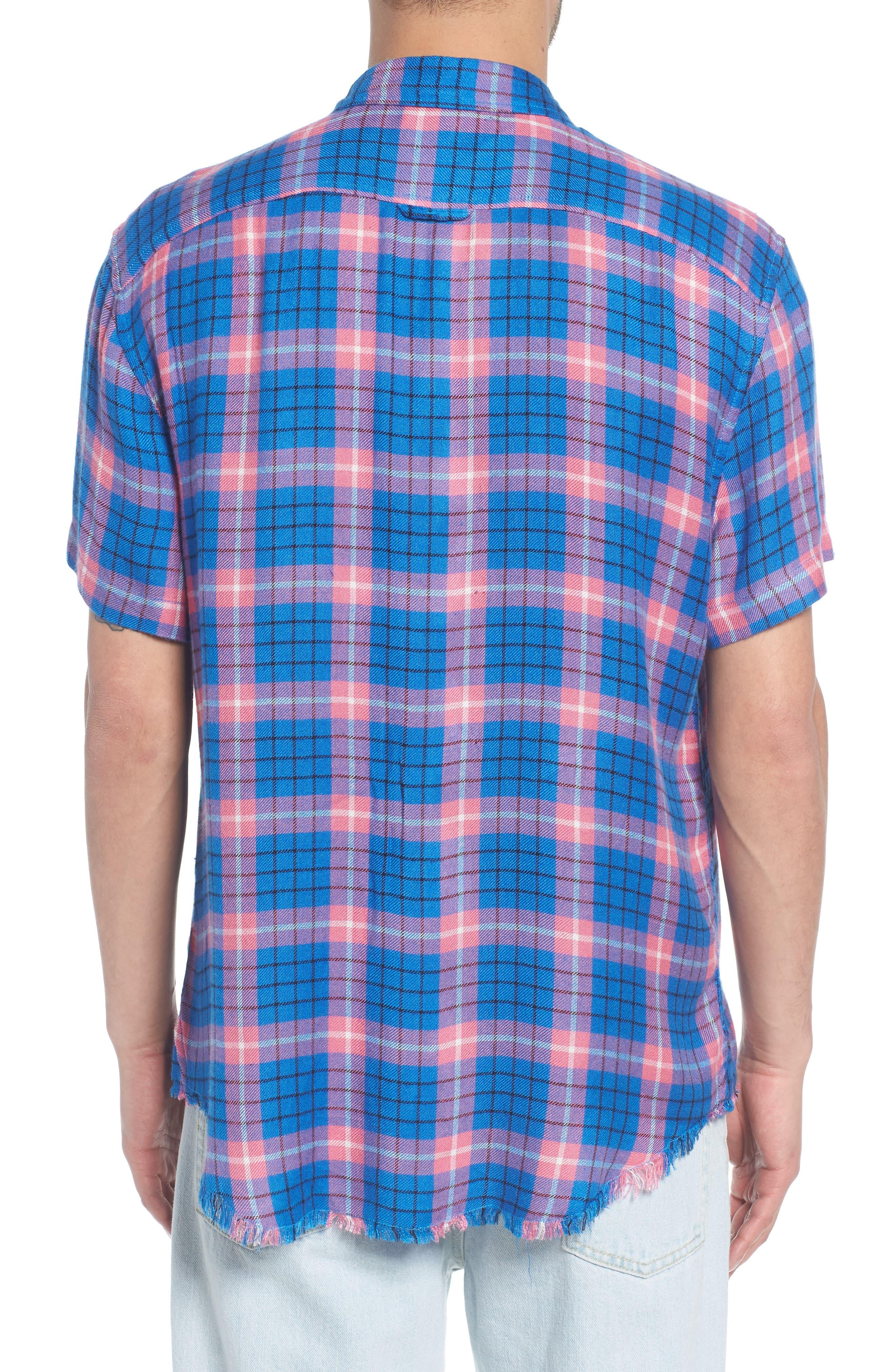 Flannel Woven Shirt,                             Alternate thumbnail 3, color,                             Blue Camp Pink Beck Plaid