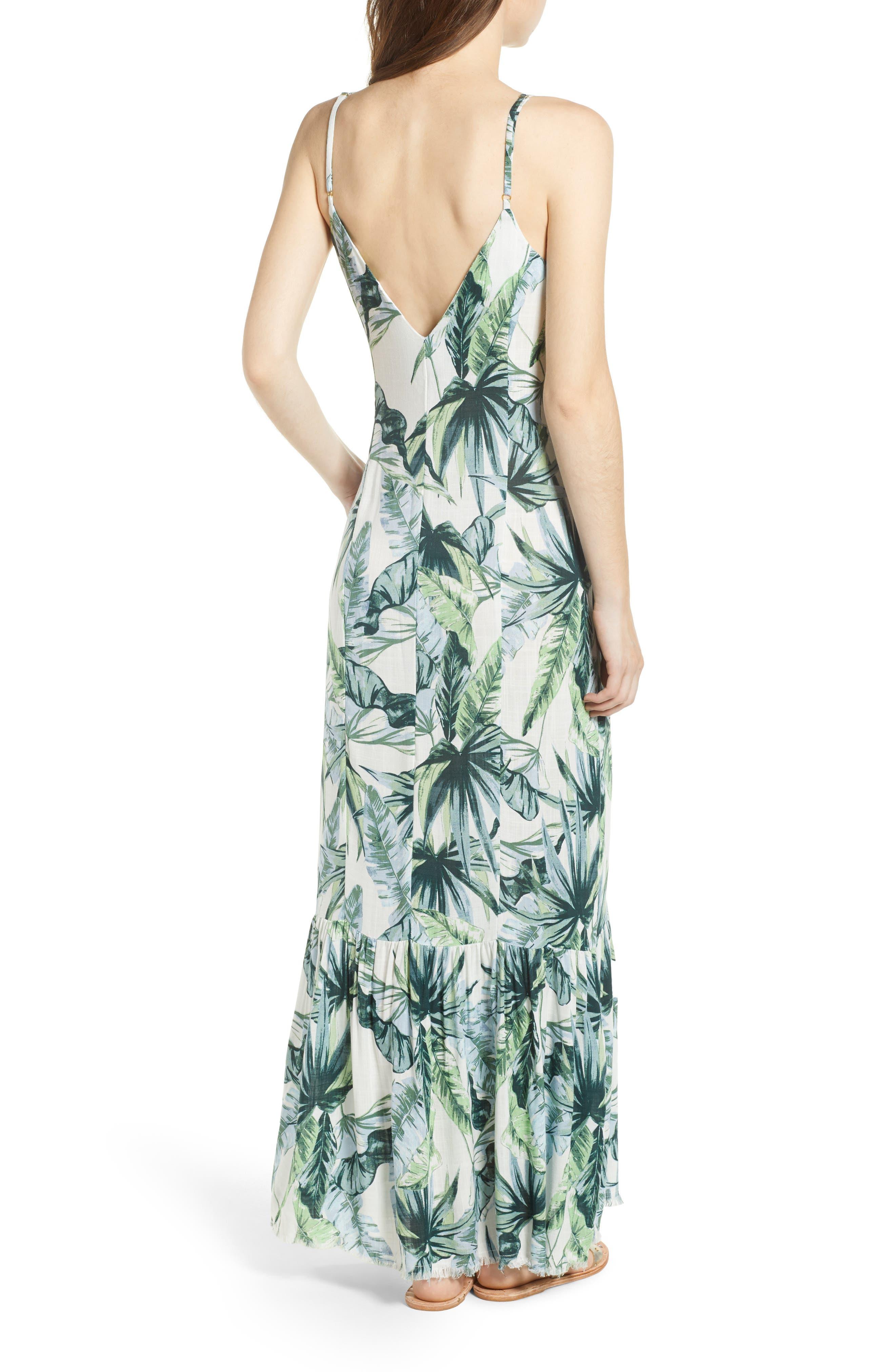 Palm Print Fringe Hem Maxi Dress,                             Alternate thumbnail 3, color,                             Multi