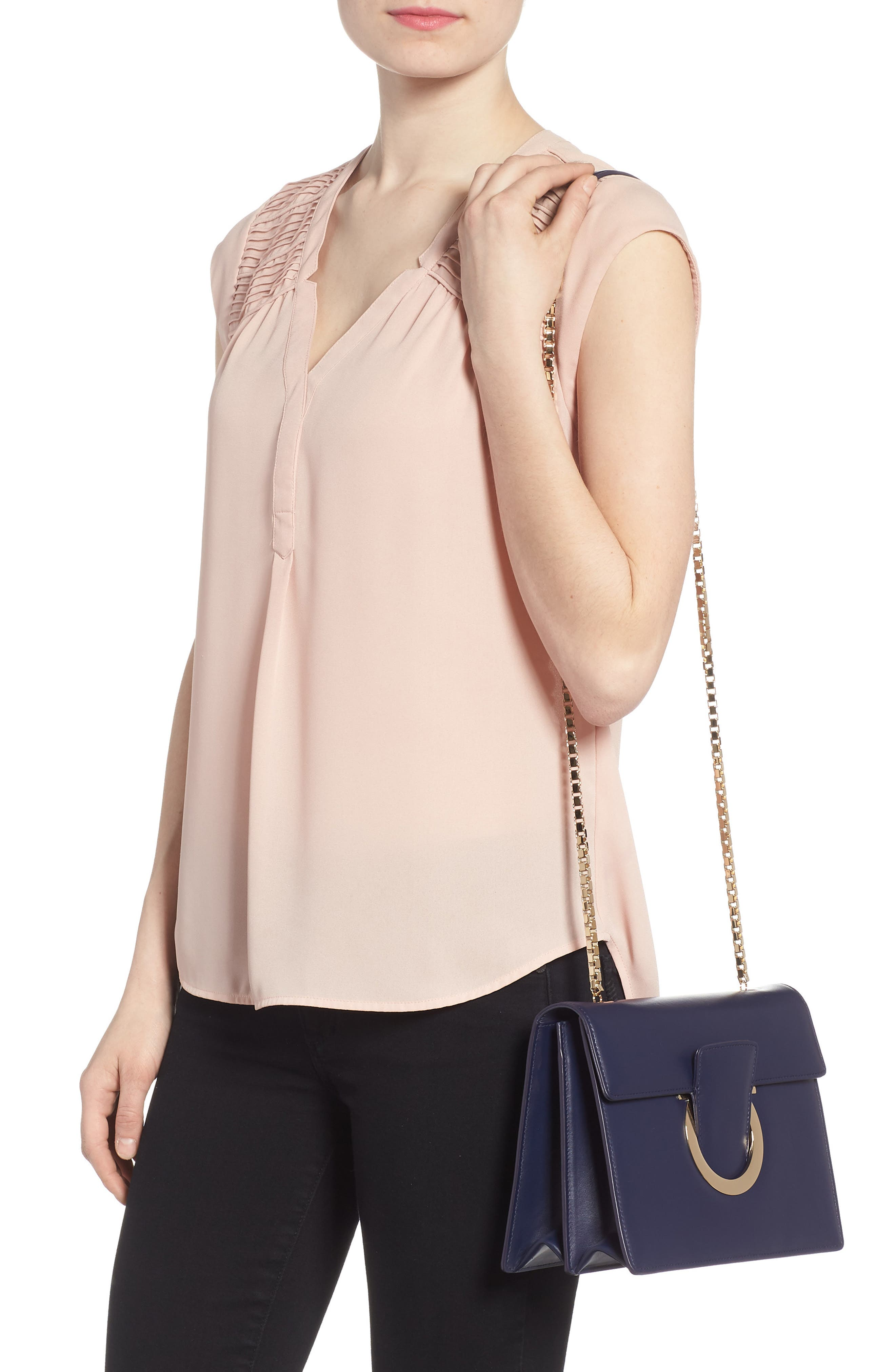 Thalia Gancio Leather Shoulder Bag by Salvatore Ferragamo