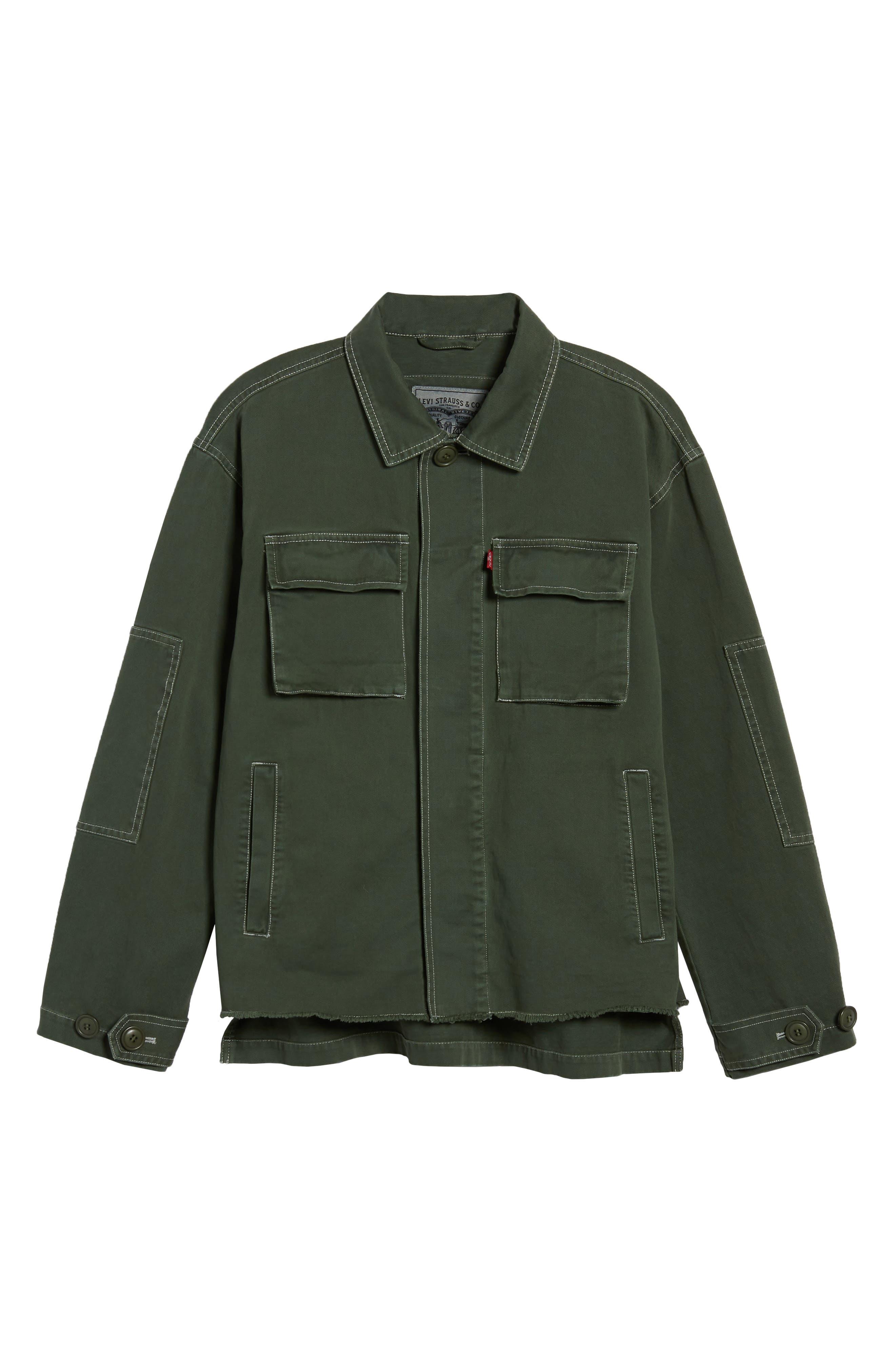 Cotton Shirt Jacket,                             Alternate thumbnail 2, color,                             Olive