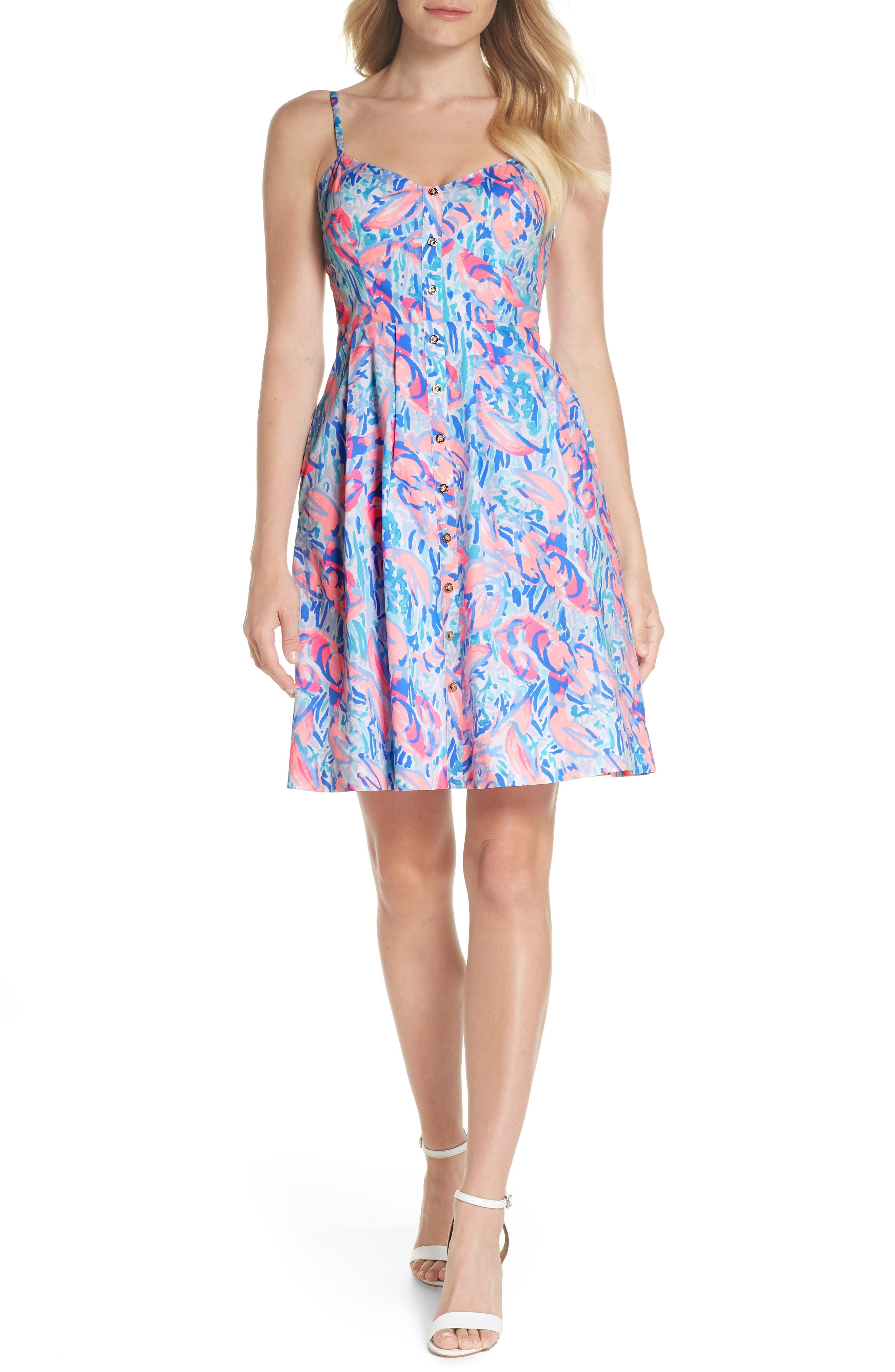 Easton Fit & Flare Dress,                         Main,                         color, Cosmic Coral Cracked Up