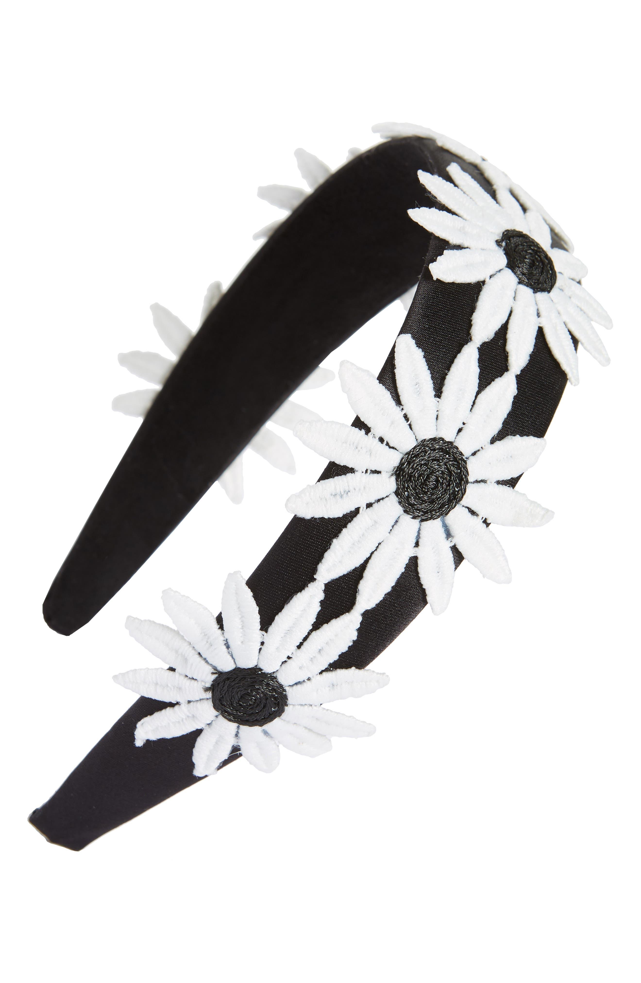 Big Daisy Headband,                             Main thumbnail 1, color,                             Black/ White