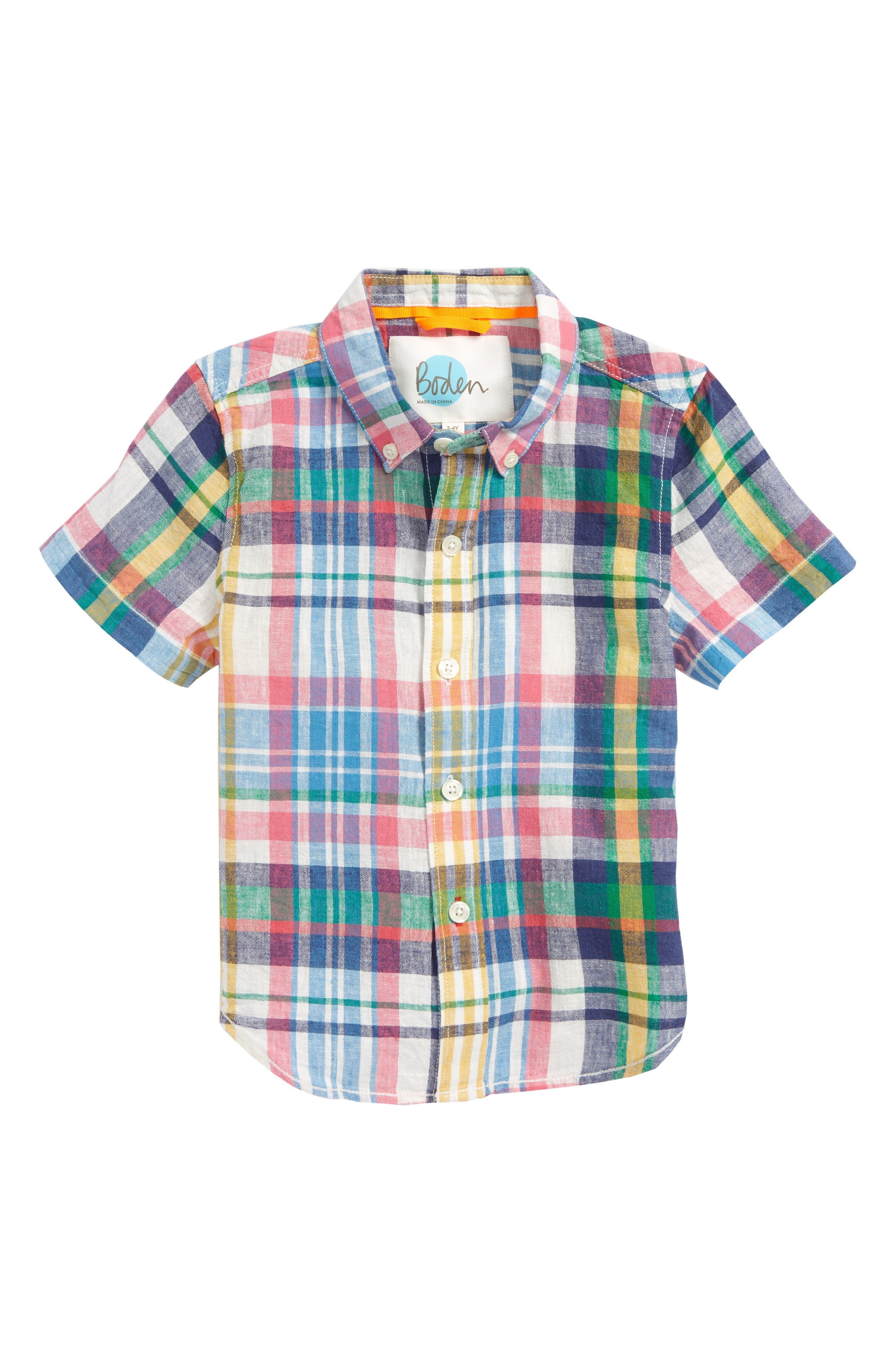 Fun Short Sleeve Button Down Shirt,                             Main thumbnail 1, color,                             Caspian Blue Multi