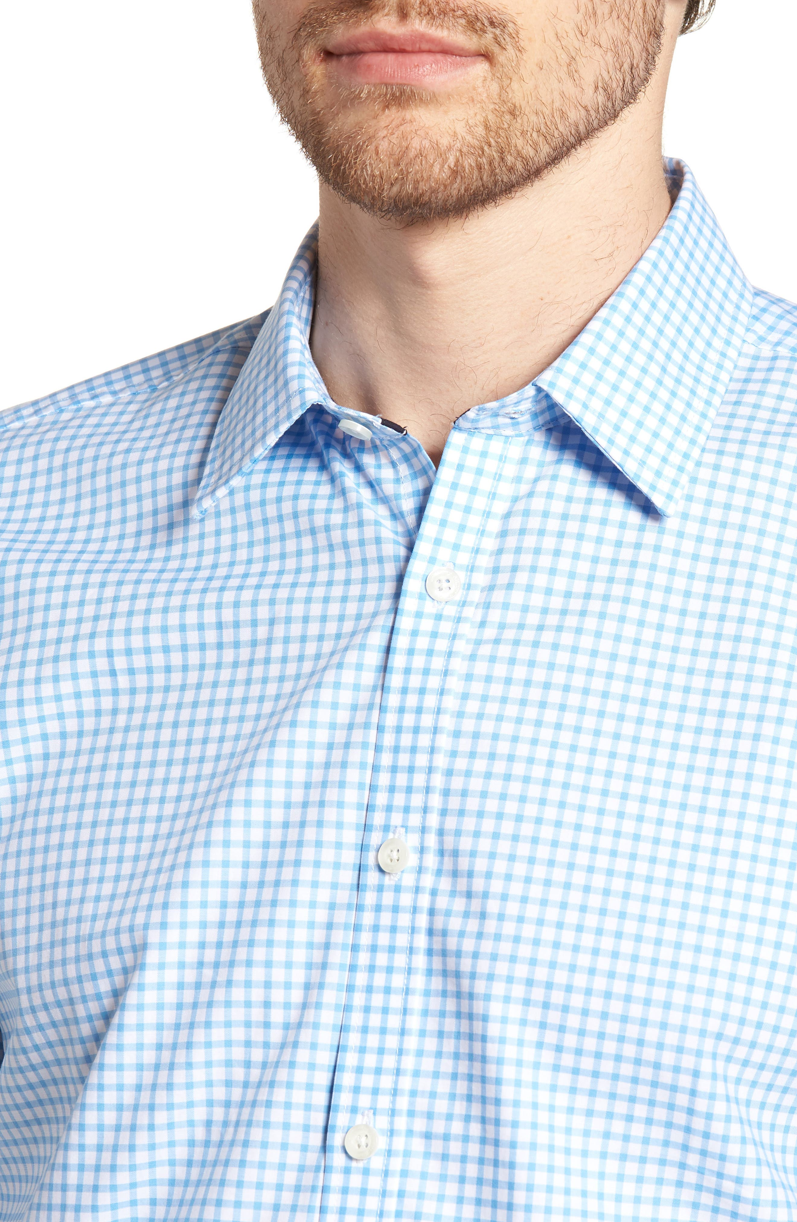 Slim Fit Check Sport Shirt,                             Alternate thumbnail 2, color,                             Light Blue