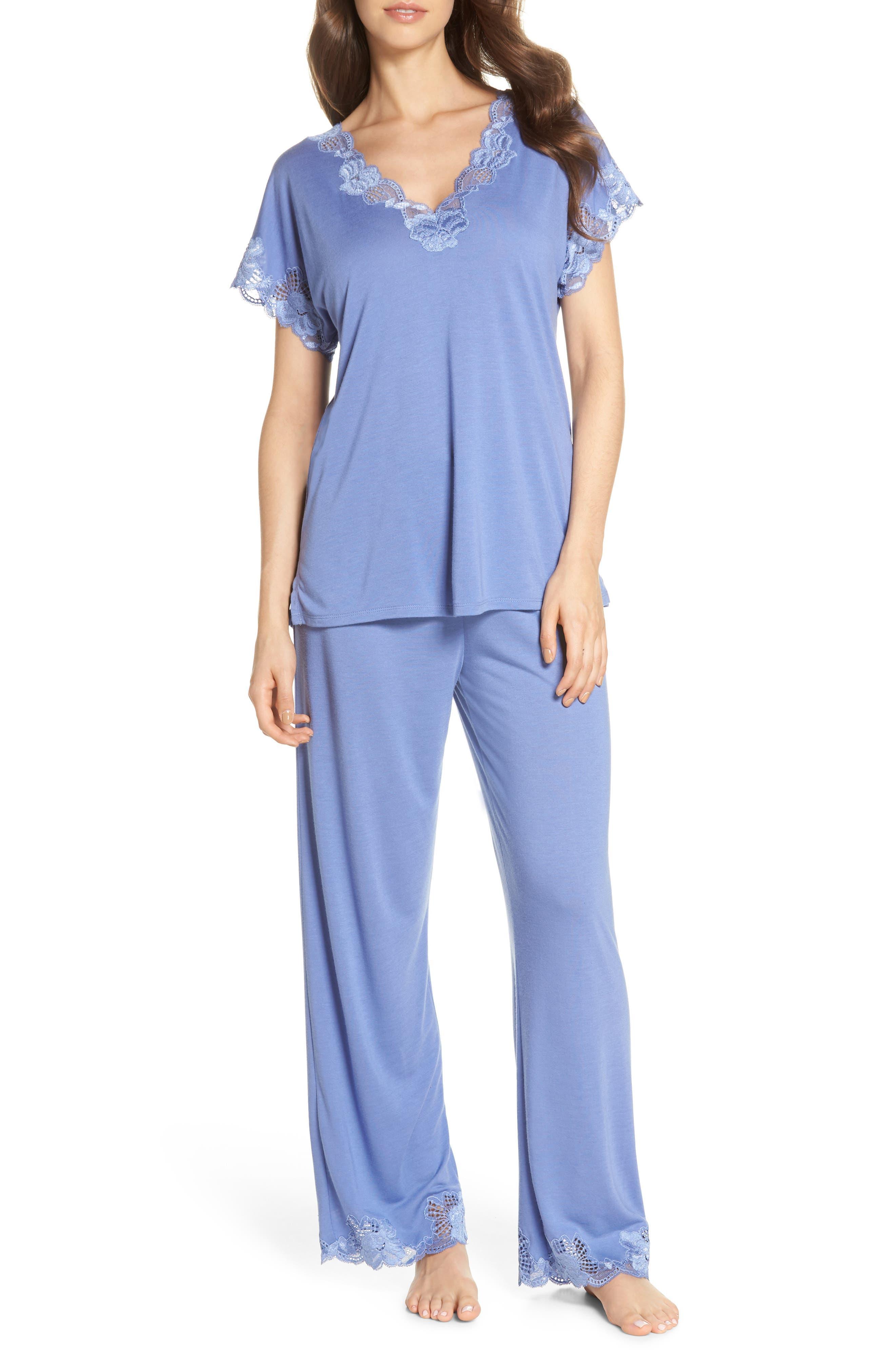 'Zen Floral' Pajama Set,                             Main thumbnail 1, color,                             Wedgewood