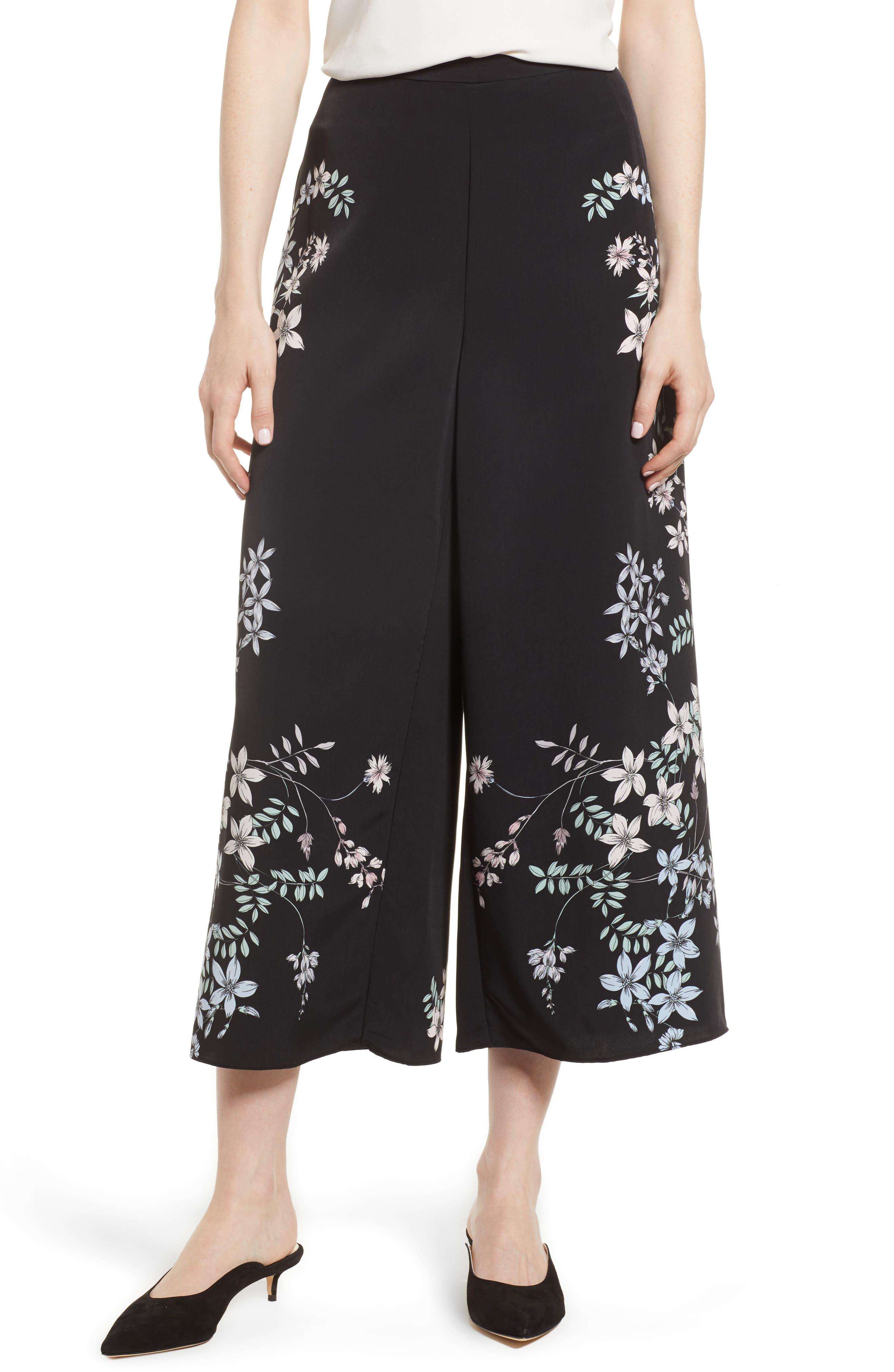 Floral Wide Leg Crop Pants,                         Main,                         color, Rich Black