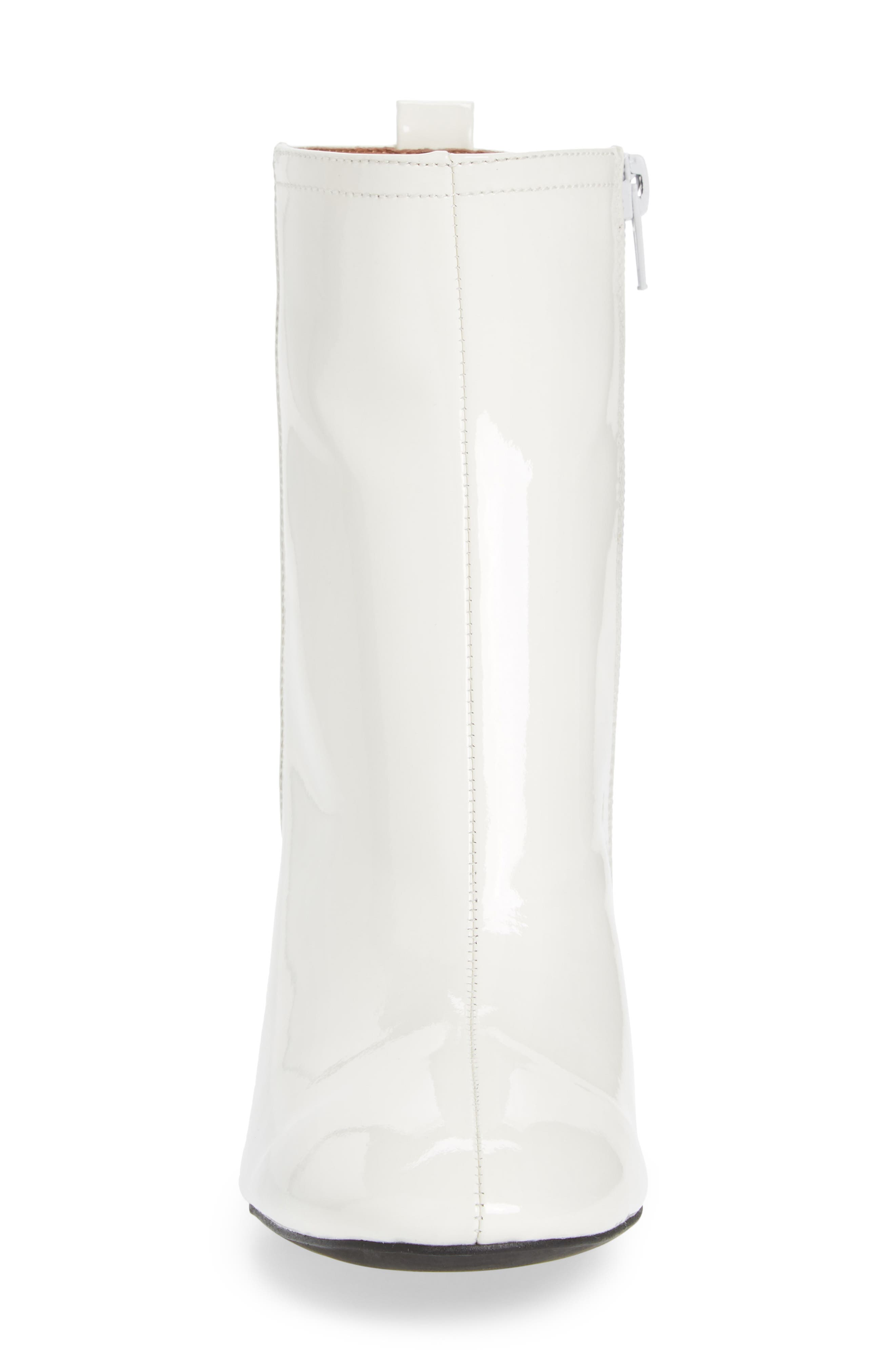 Chapel Curved Heel Bootie,                             Alternate thumbnail 4, color,                             White Patent Leather