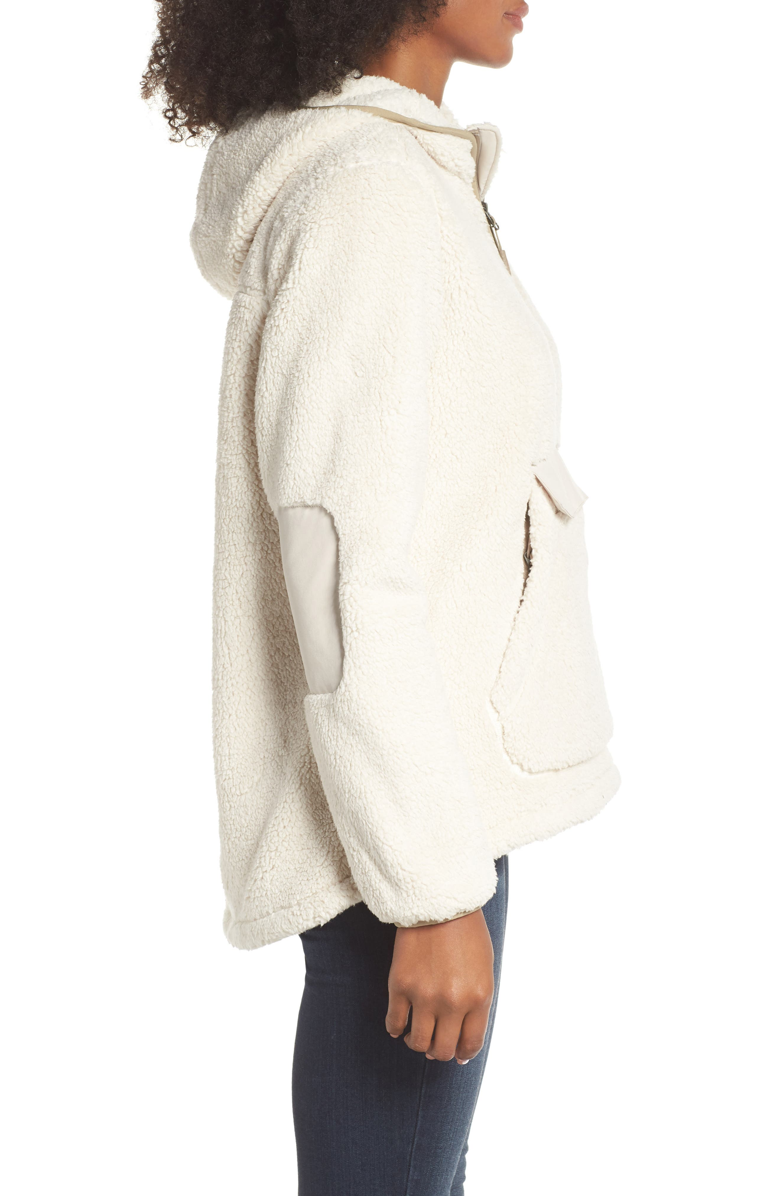 Campshire High Pile Fleece Pullover Hoodie,                             Alternate thumbnail 6, color,                             Vintage White/ Peyote Beige