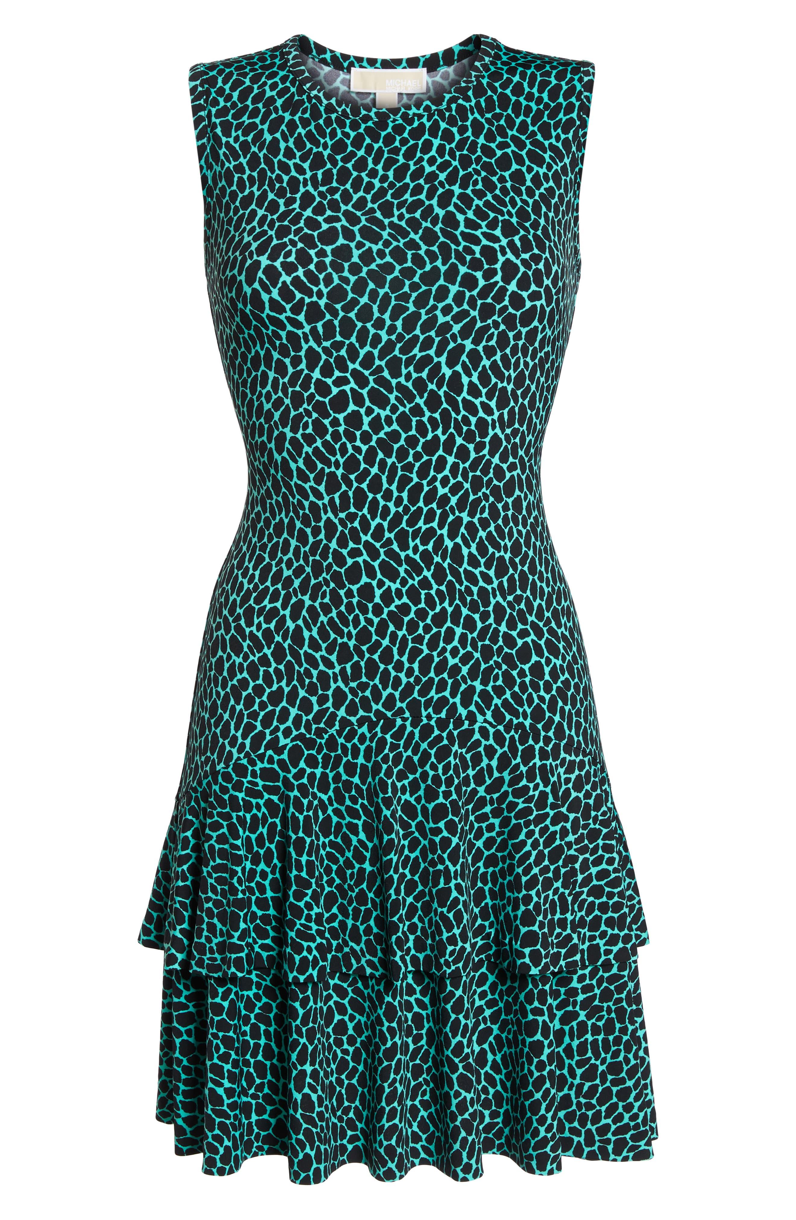 Leopard Print Flounce Hem Dress,                             Alternate thumbnail 7, color,                             Aqua/ Black