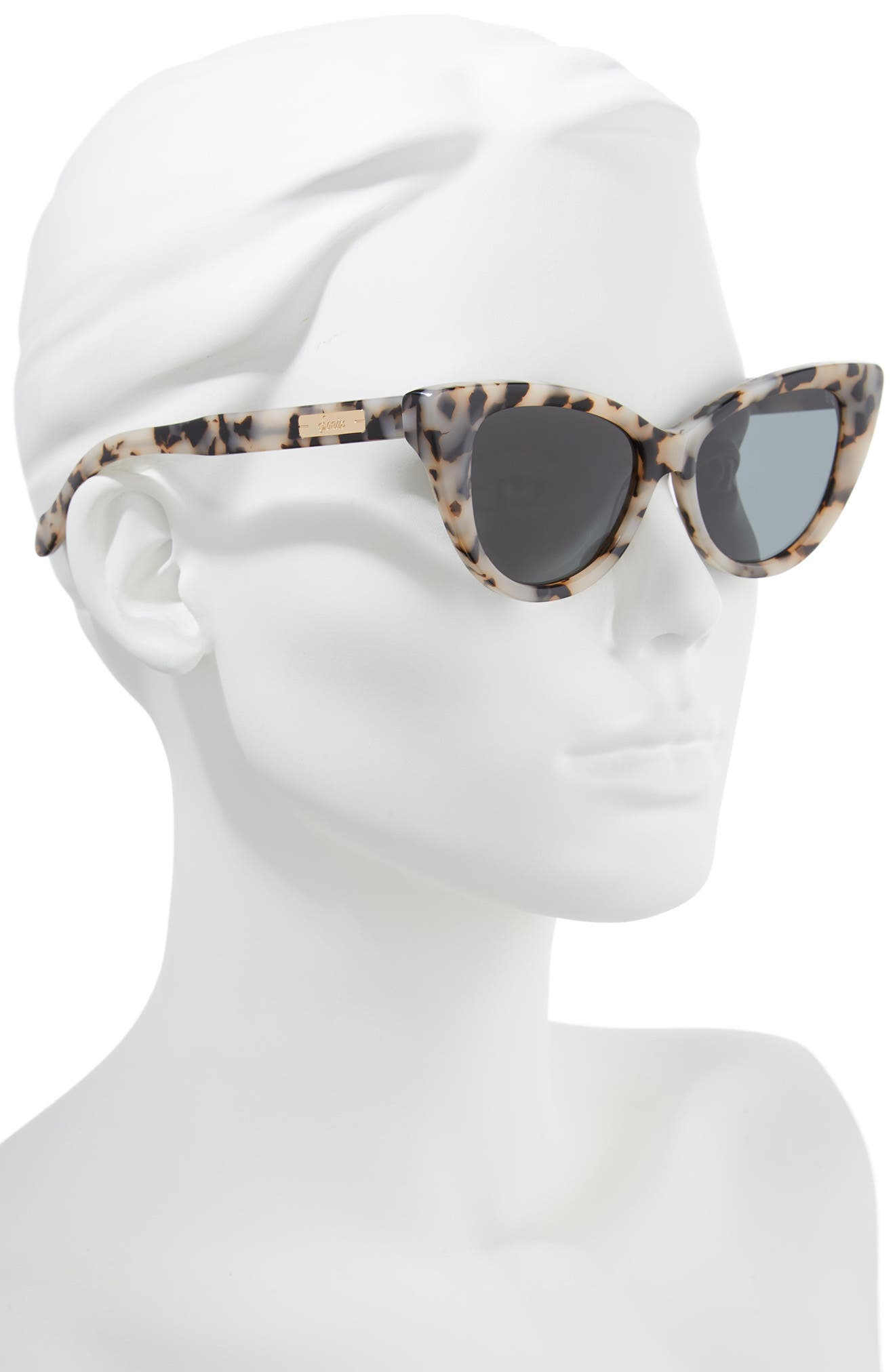 Kyoto 51mm Cat Eye Sunglasses,                             Alternate thumbnail 2, color,                             Milk Tortoise/ Black Solid