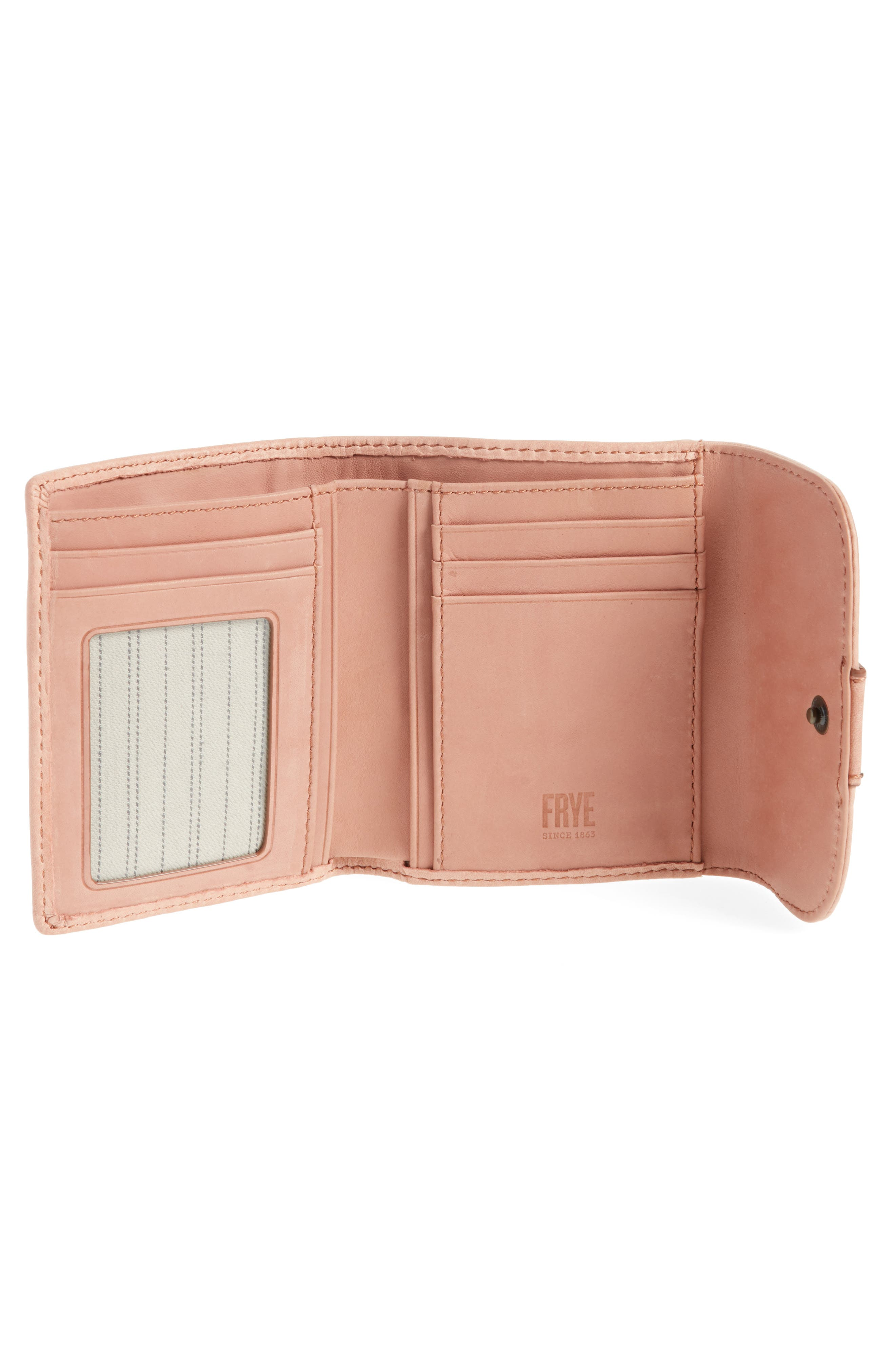 Melissa Medium Trifold Leather Wallet,                             Alternate thumbnail 2, color,                             Dusty Rose