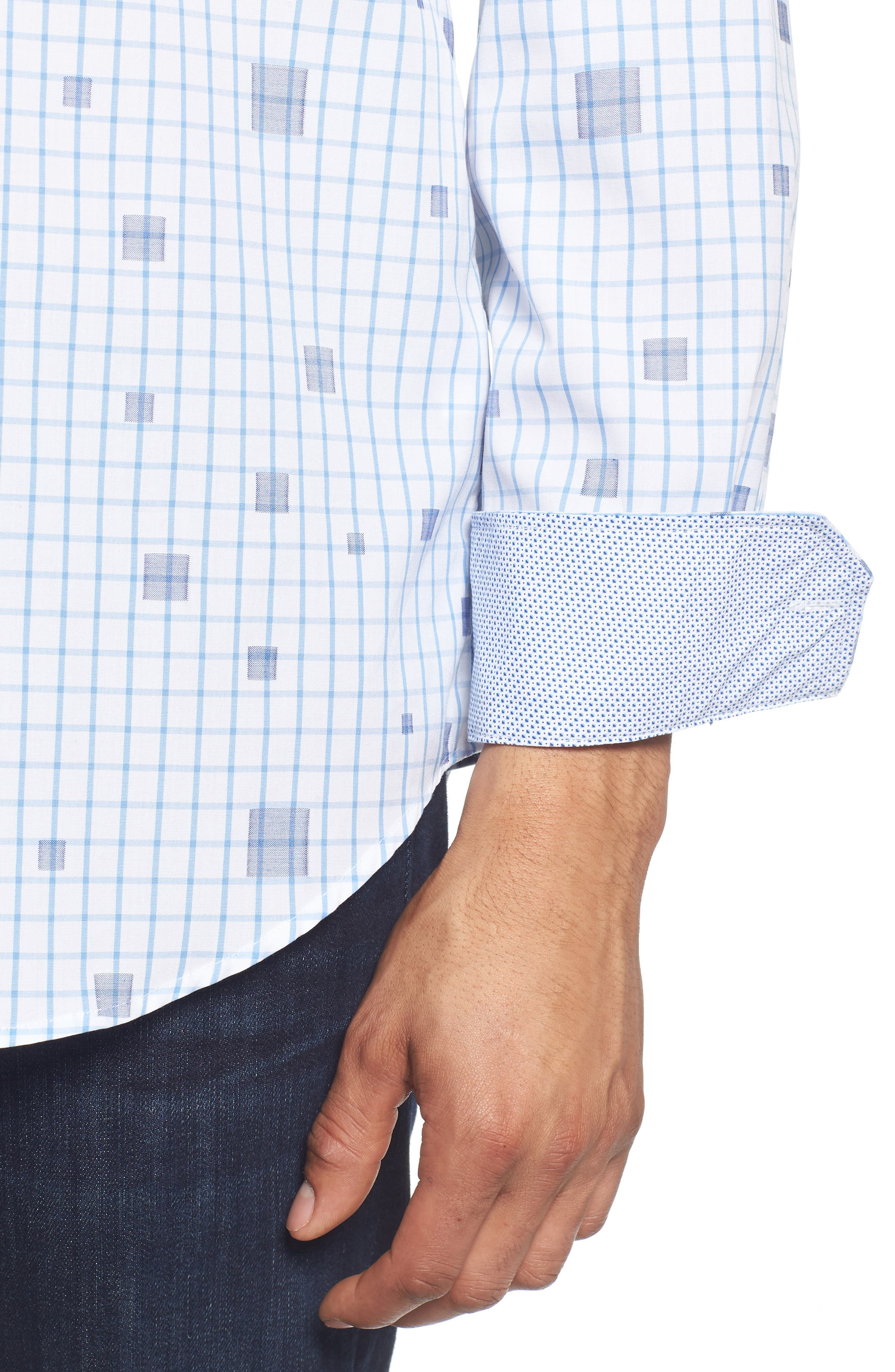 Classic Fit Square Check Sport Shirt,                             Alternate thumbnail 2, color,                             Classic Blue