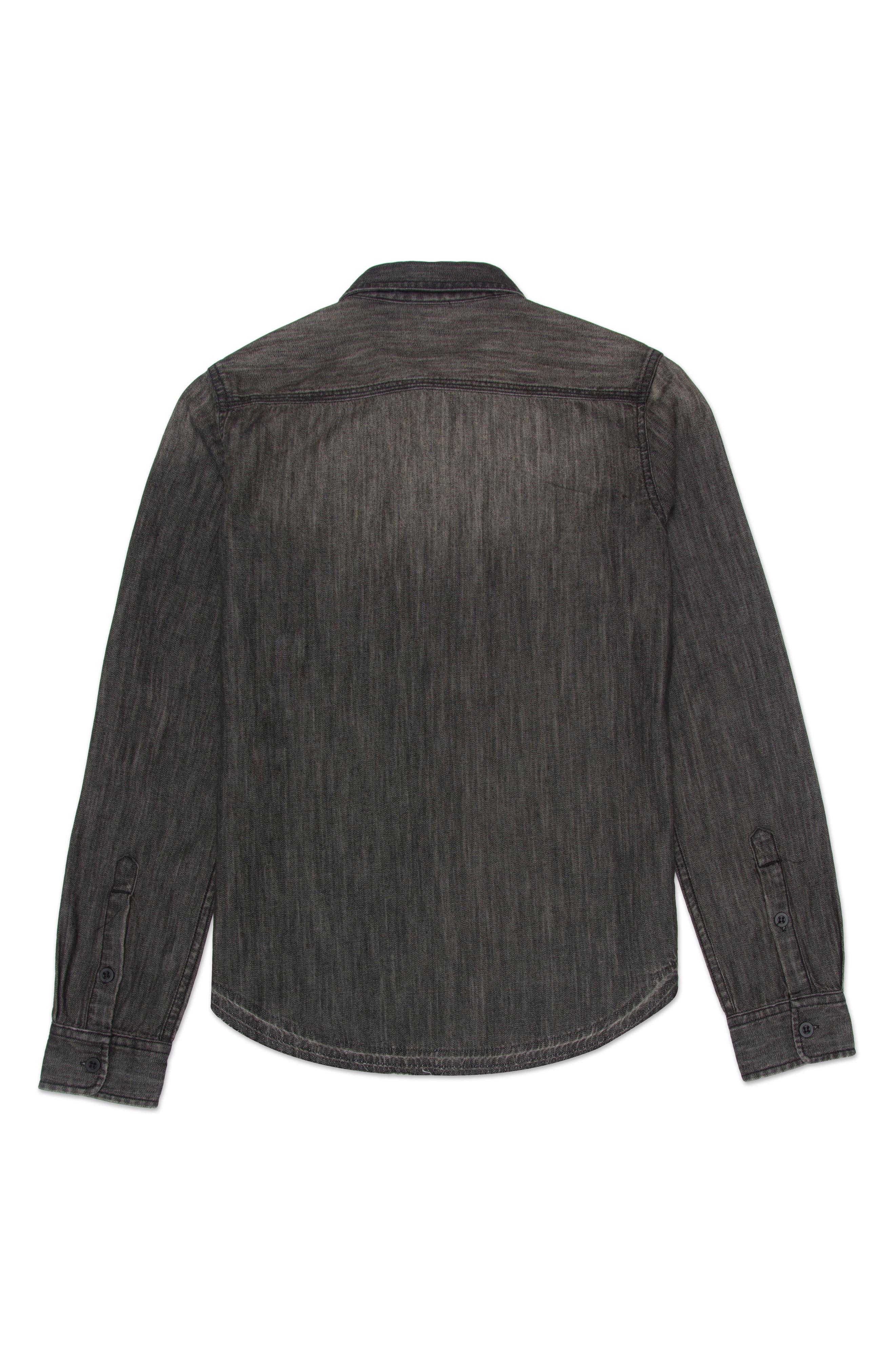 Bryson Chambray Shirt,                             Alternate thumbnail 2, color,                             Faded Black